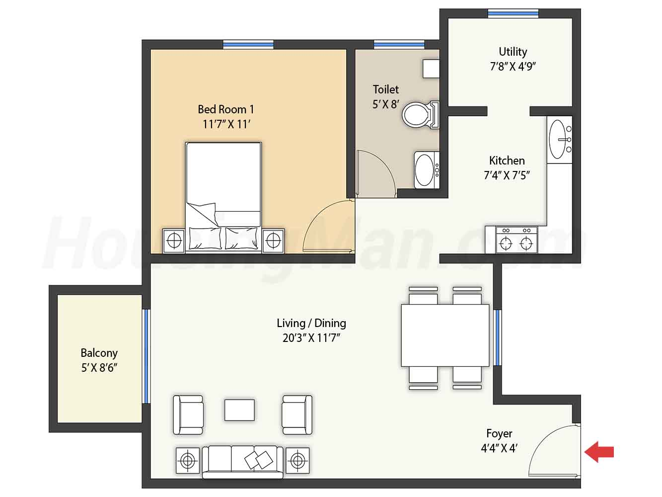 1bhk 1t 790 t