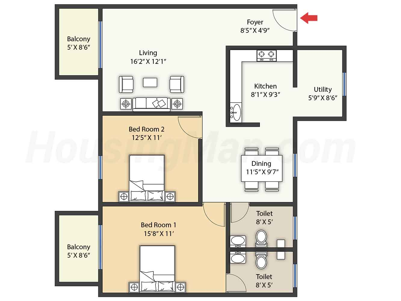 2bhk 2t 1300 t