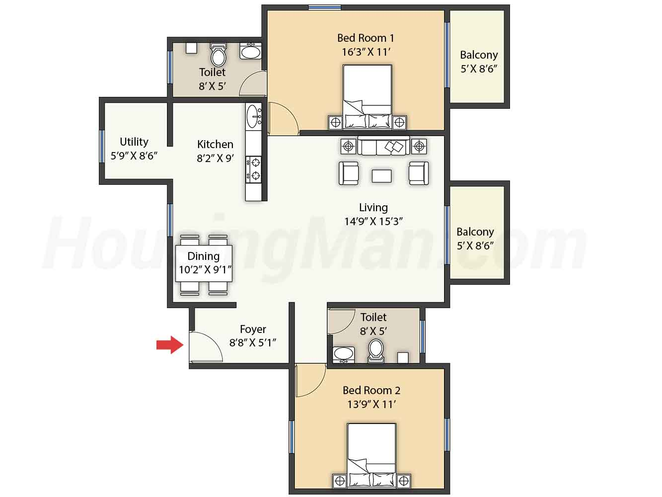 2bhk 2t 1400 t