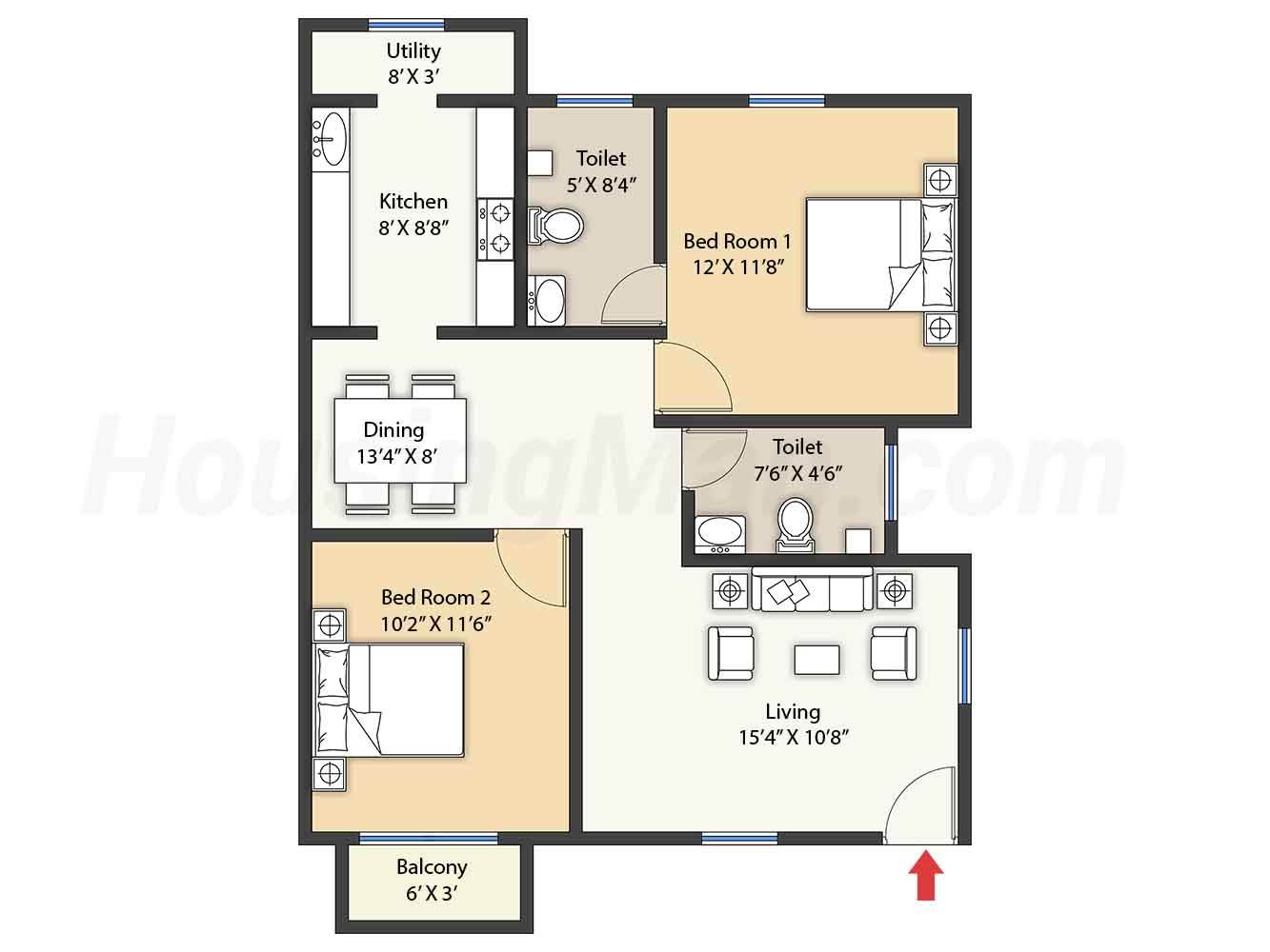 2bhk 2t 966 t
