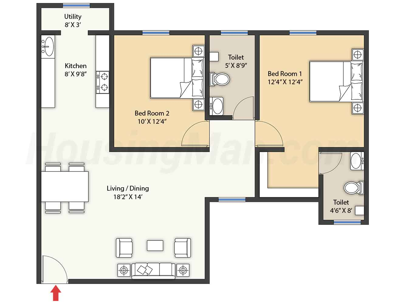 2bhk 2t 1047 t