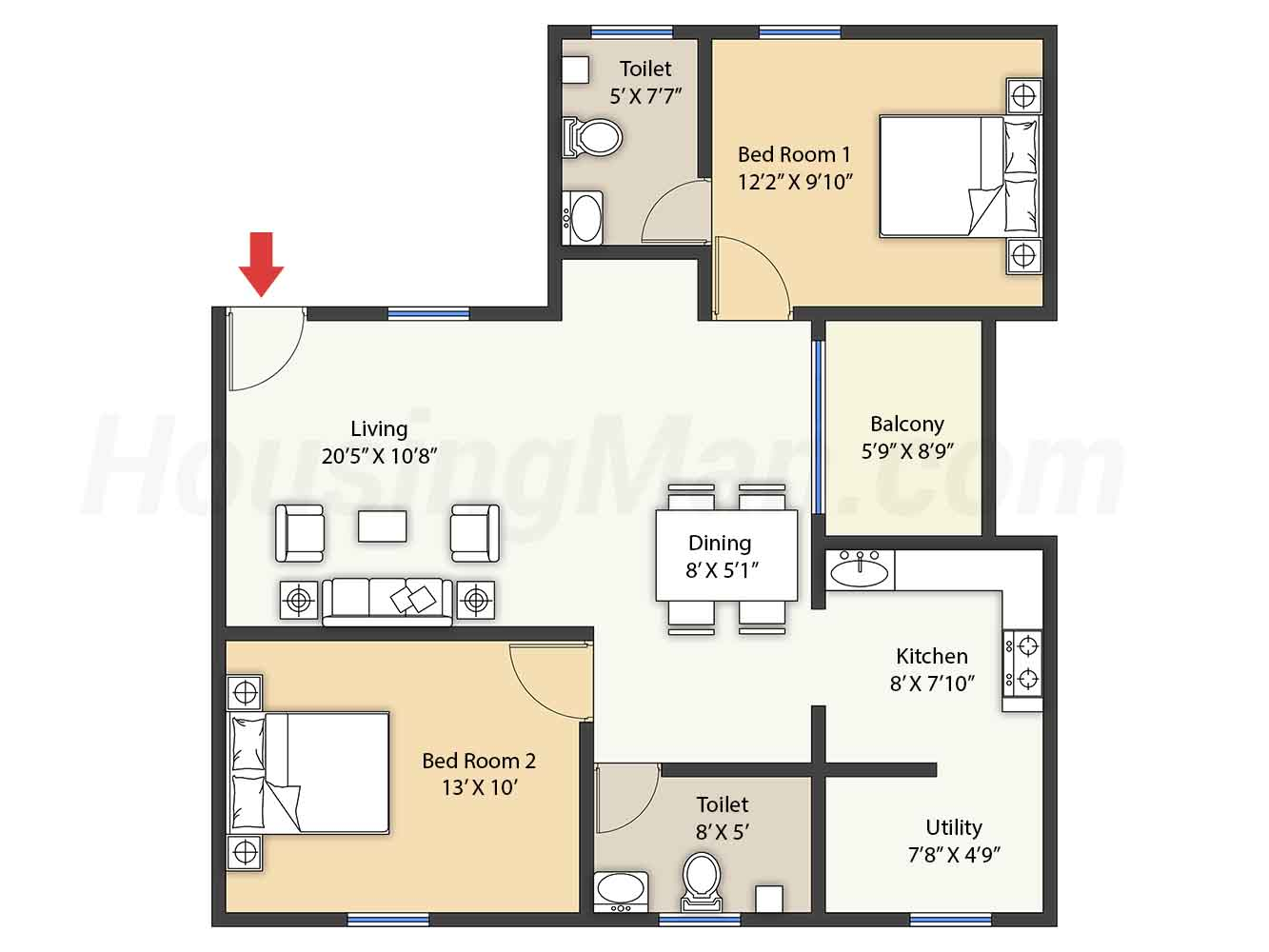 2bhk 2t 1005 t