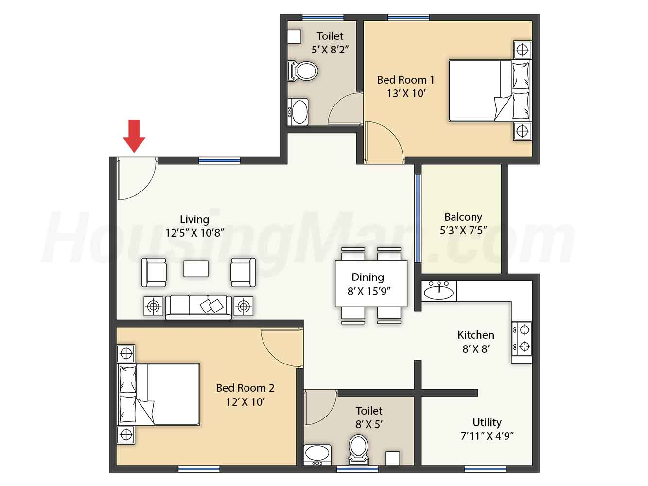 2bhk 2t 1040 t