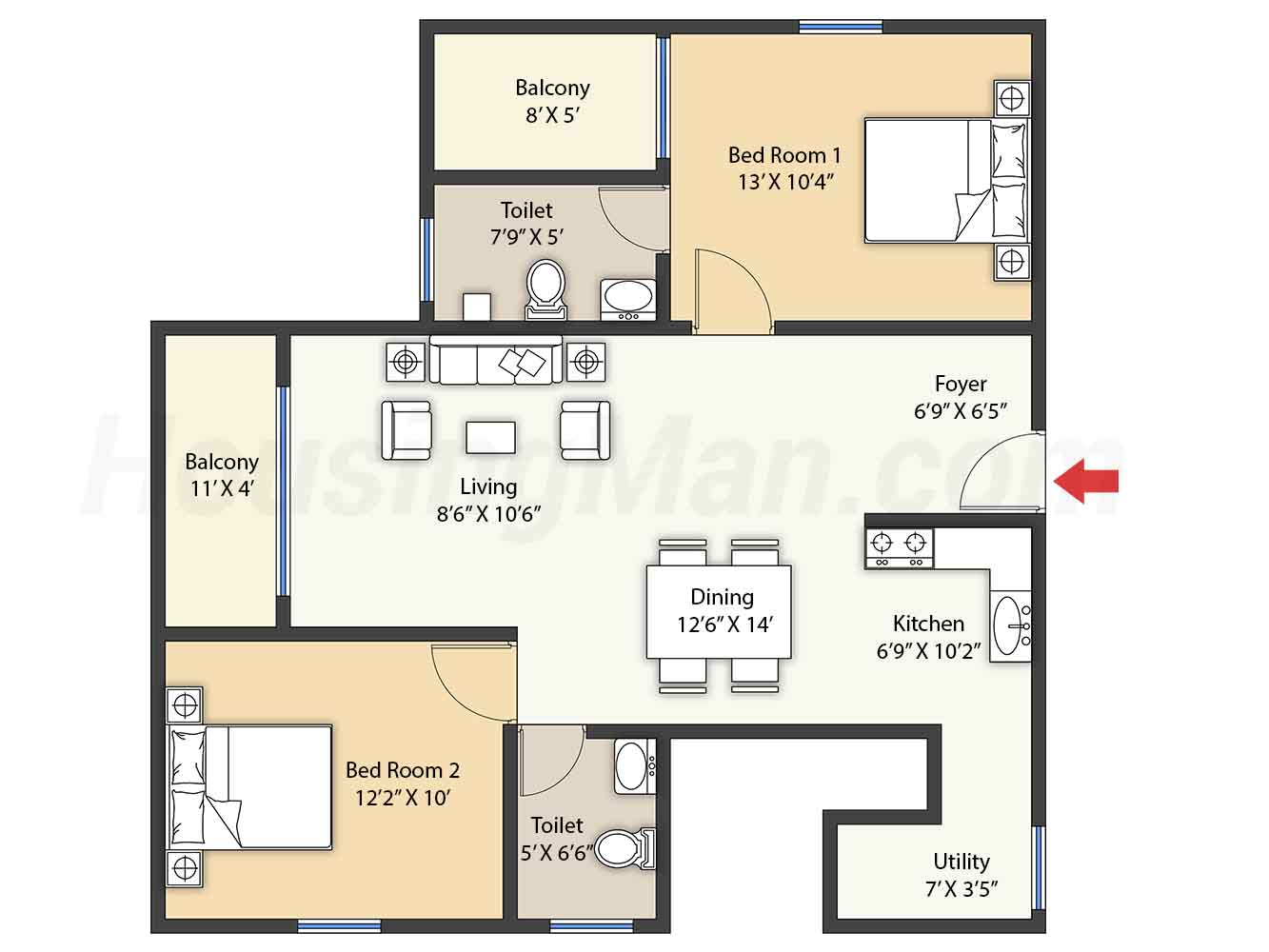 2bhk 2t 1120 t