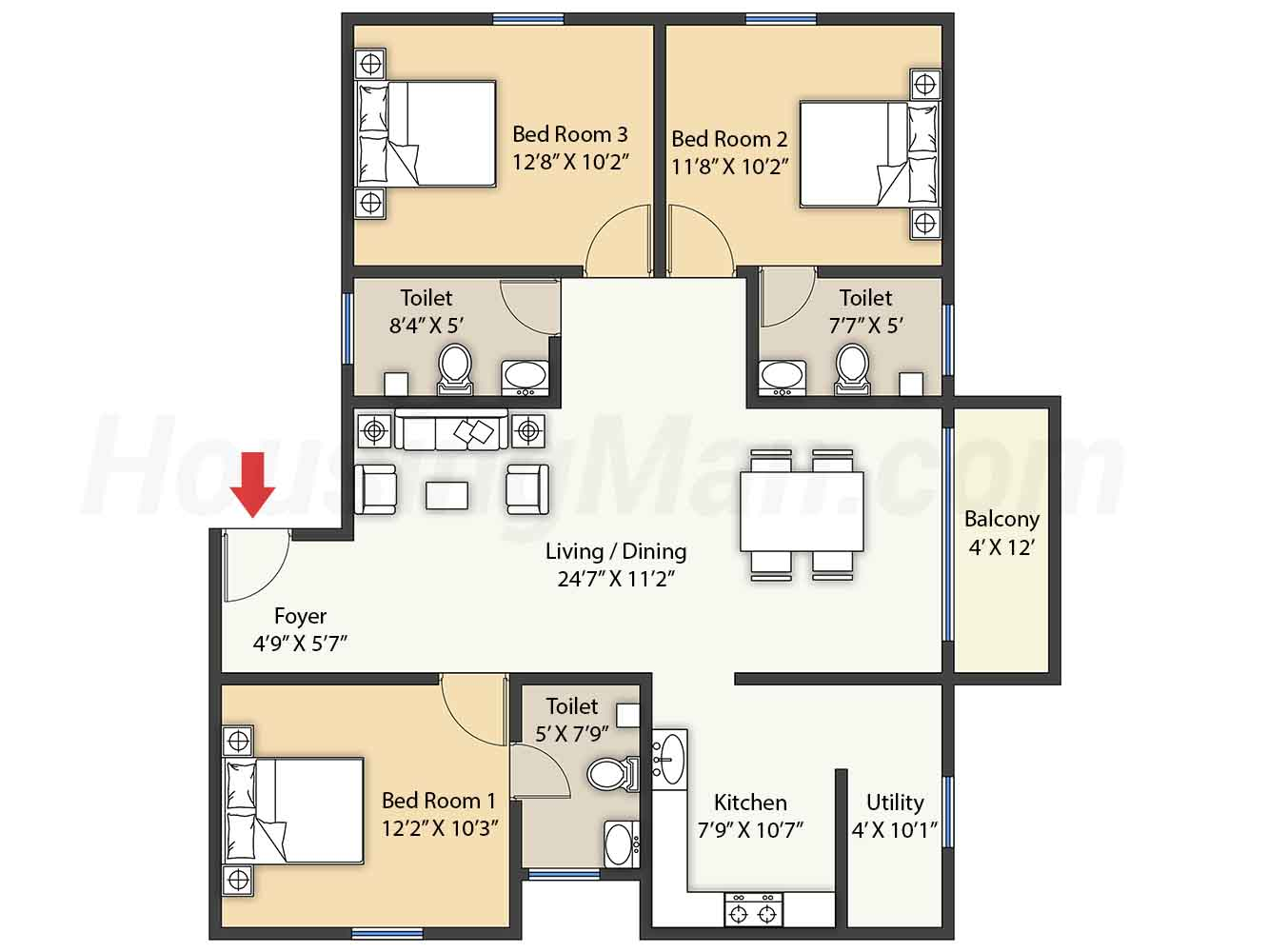 3bhk 3t 1385 t