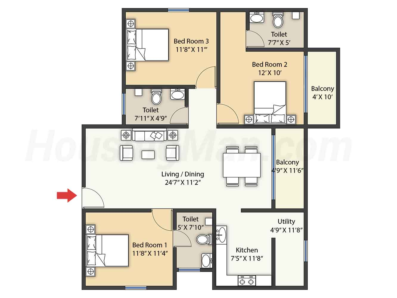 3bhk 3t 1445 t