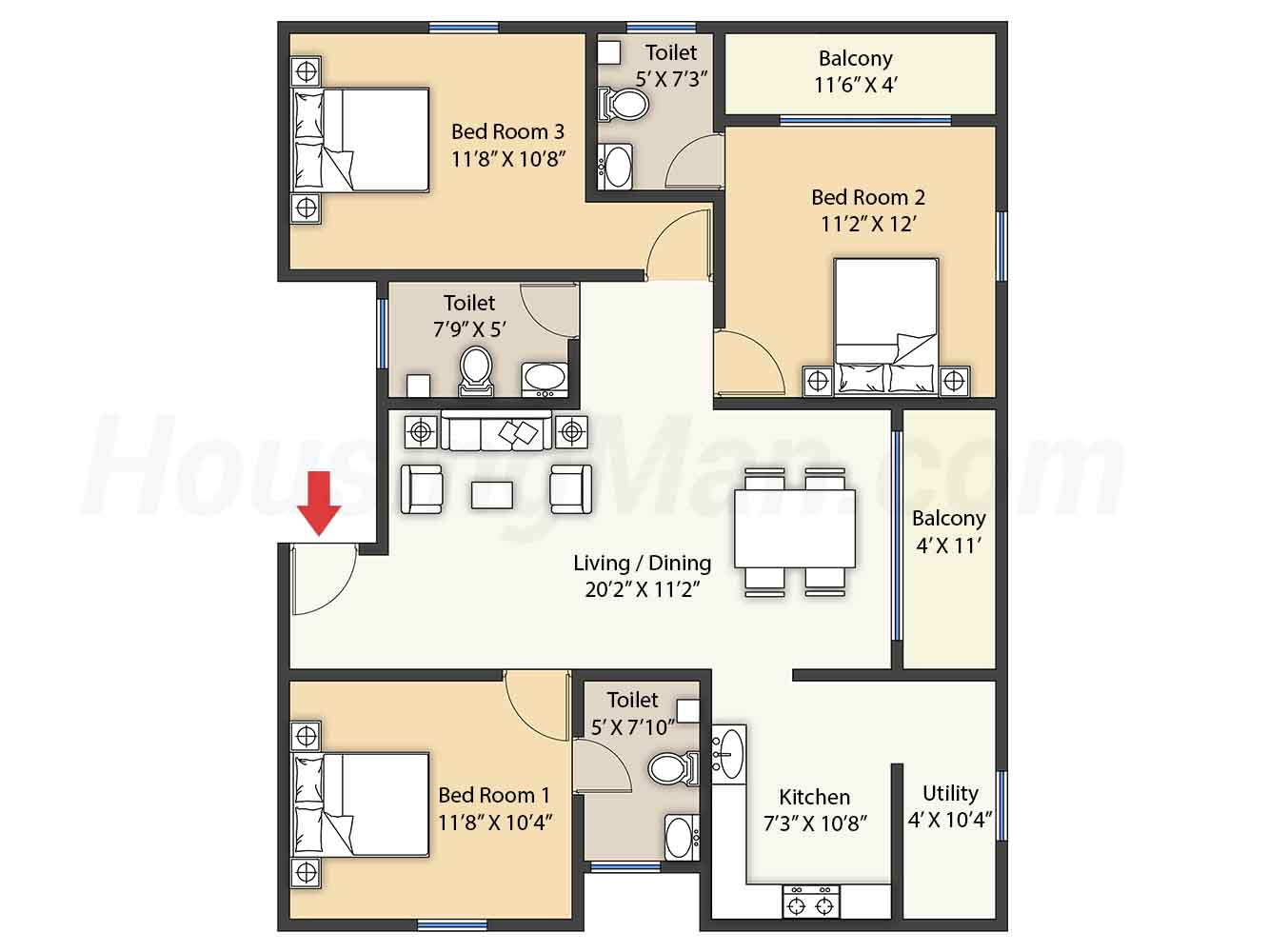 3bhk 3t 1505 t