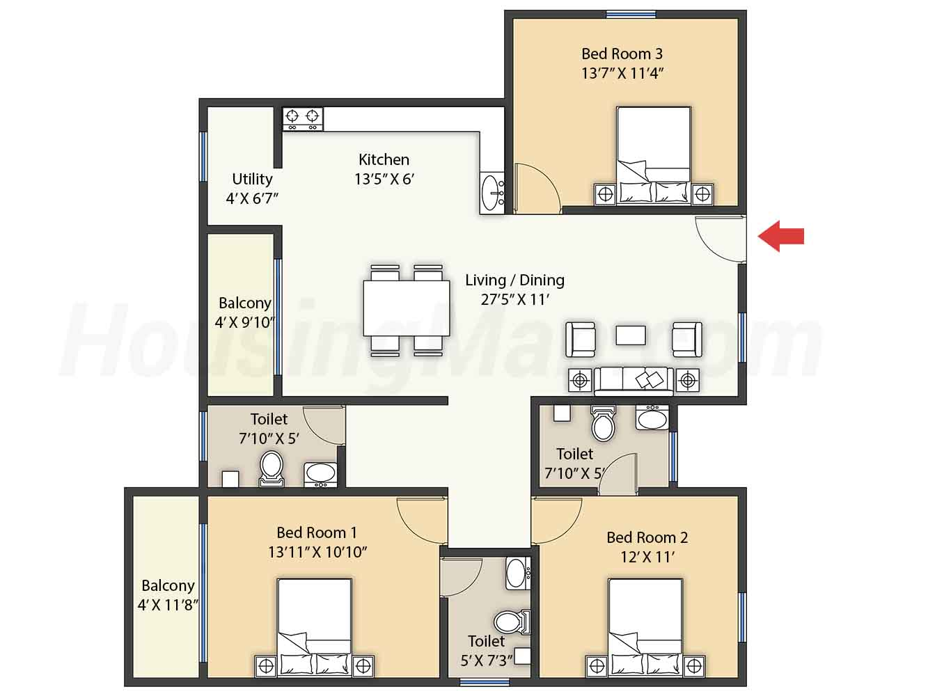 3bhk 3t 1600 t