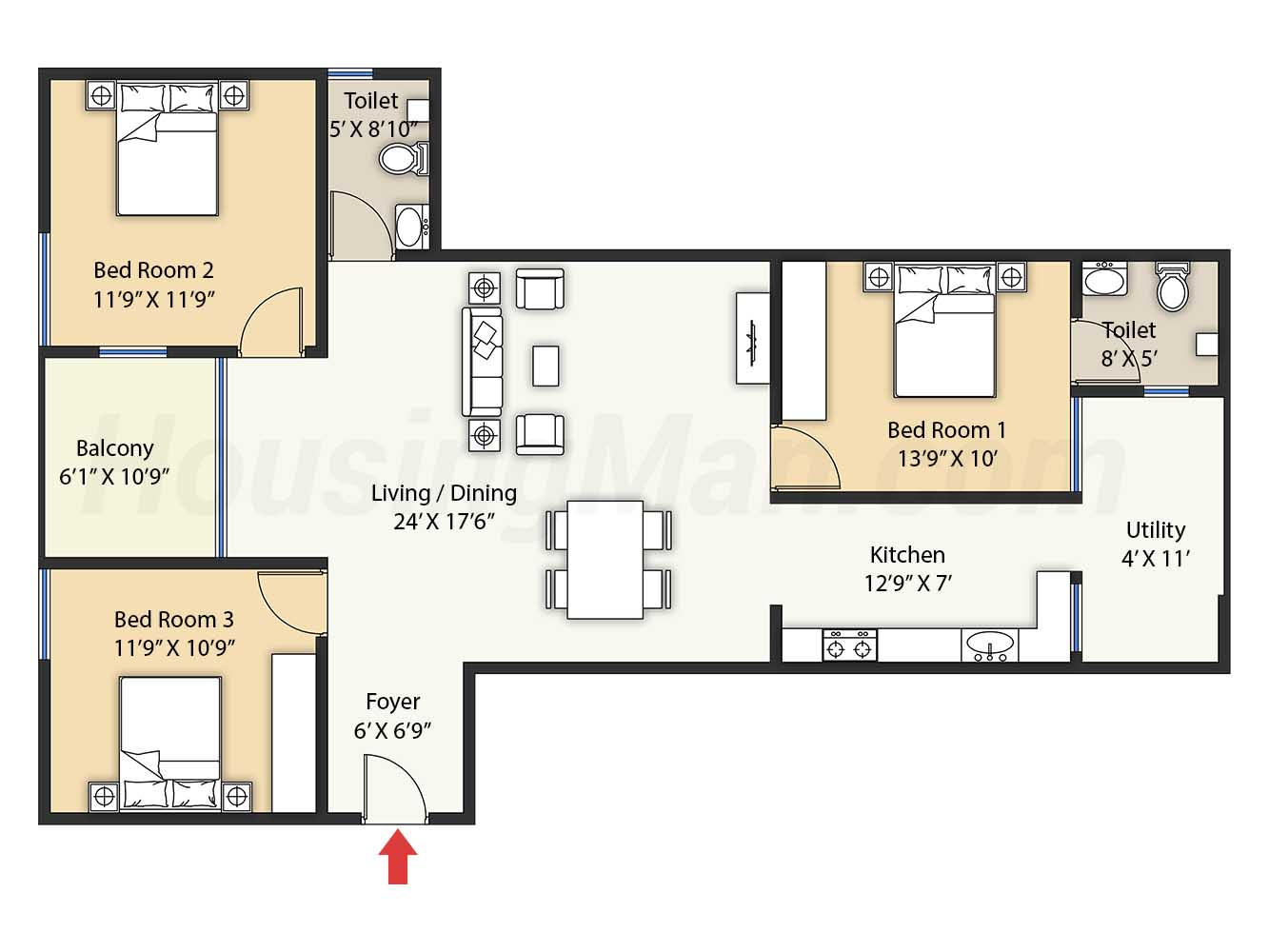 3bhk 3t 1487 t