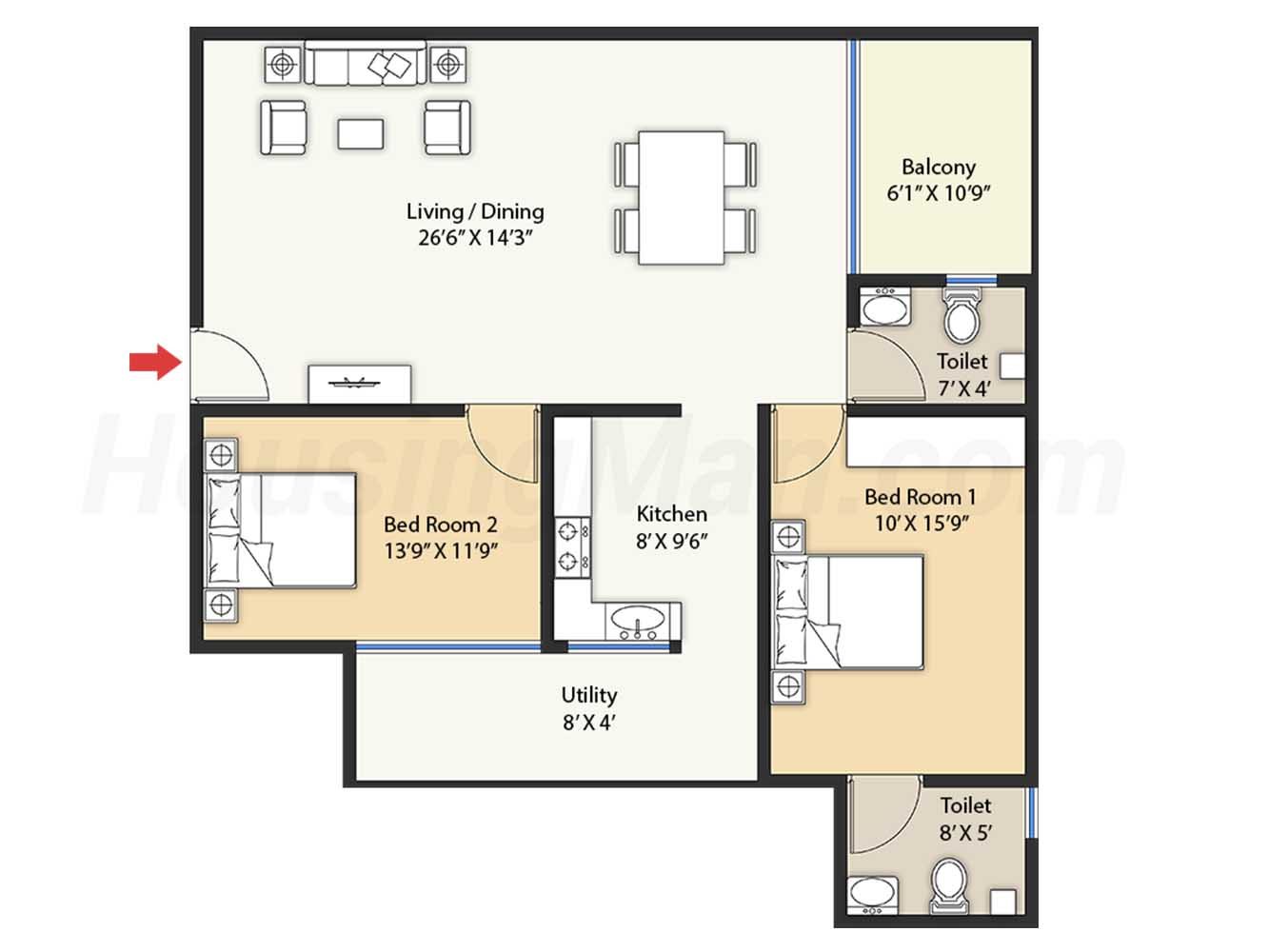 2bhk 2t 1363 t