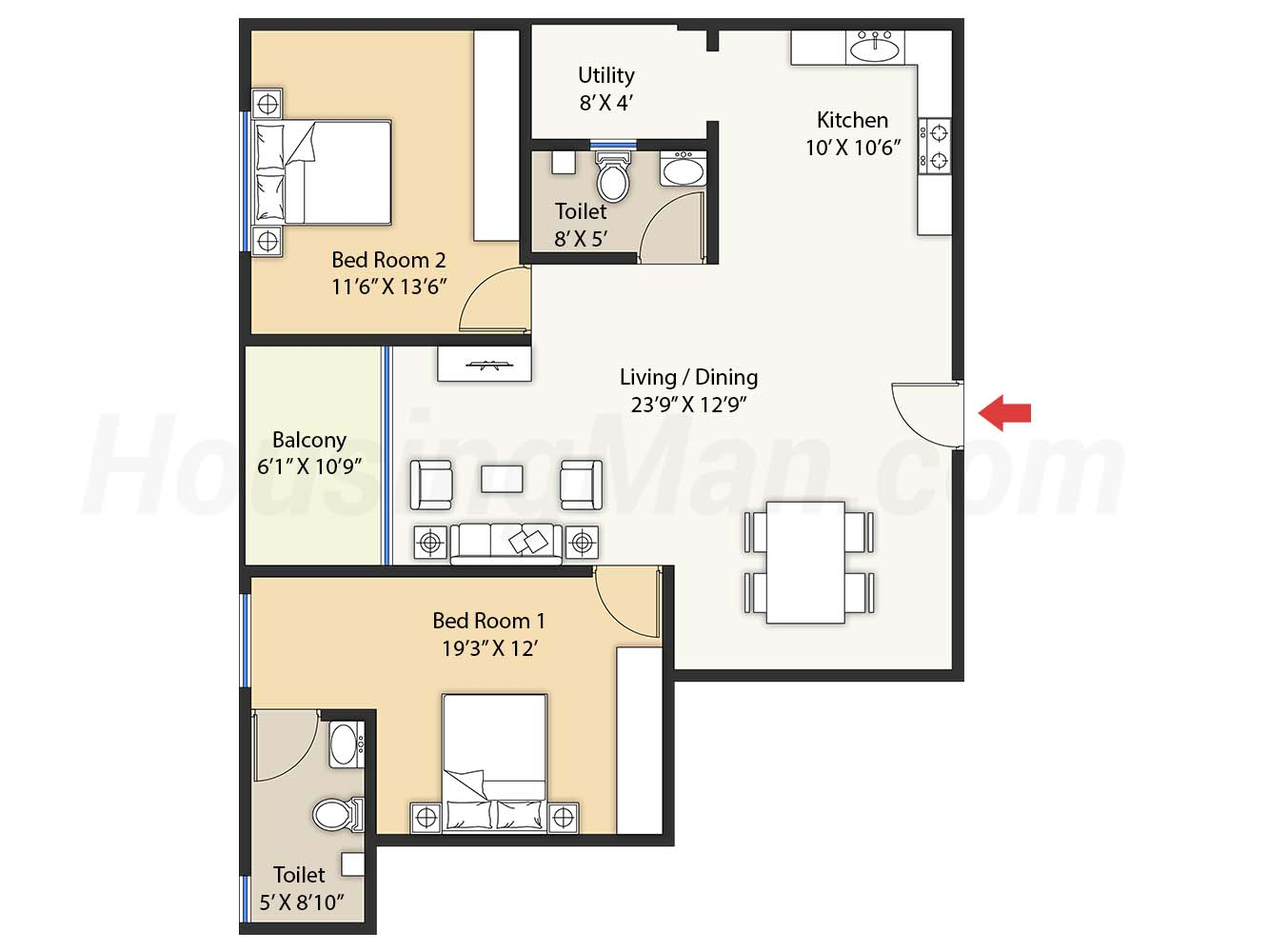 2bhk 2t 1275 t