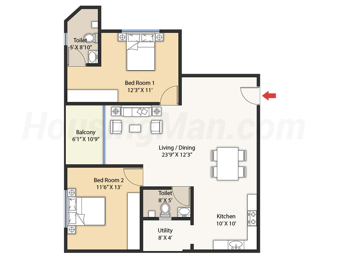 2bhk 2t 1224 t