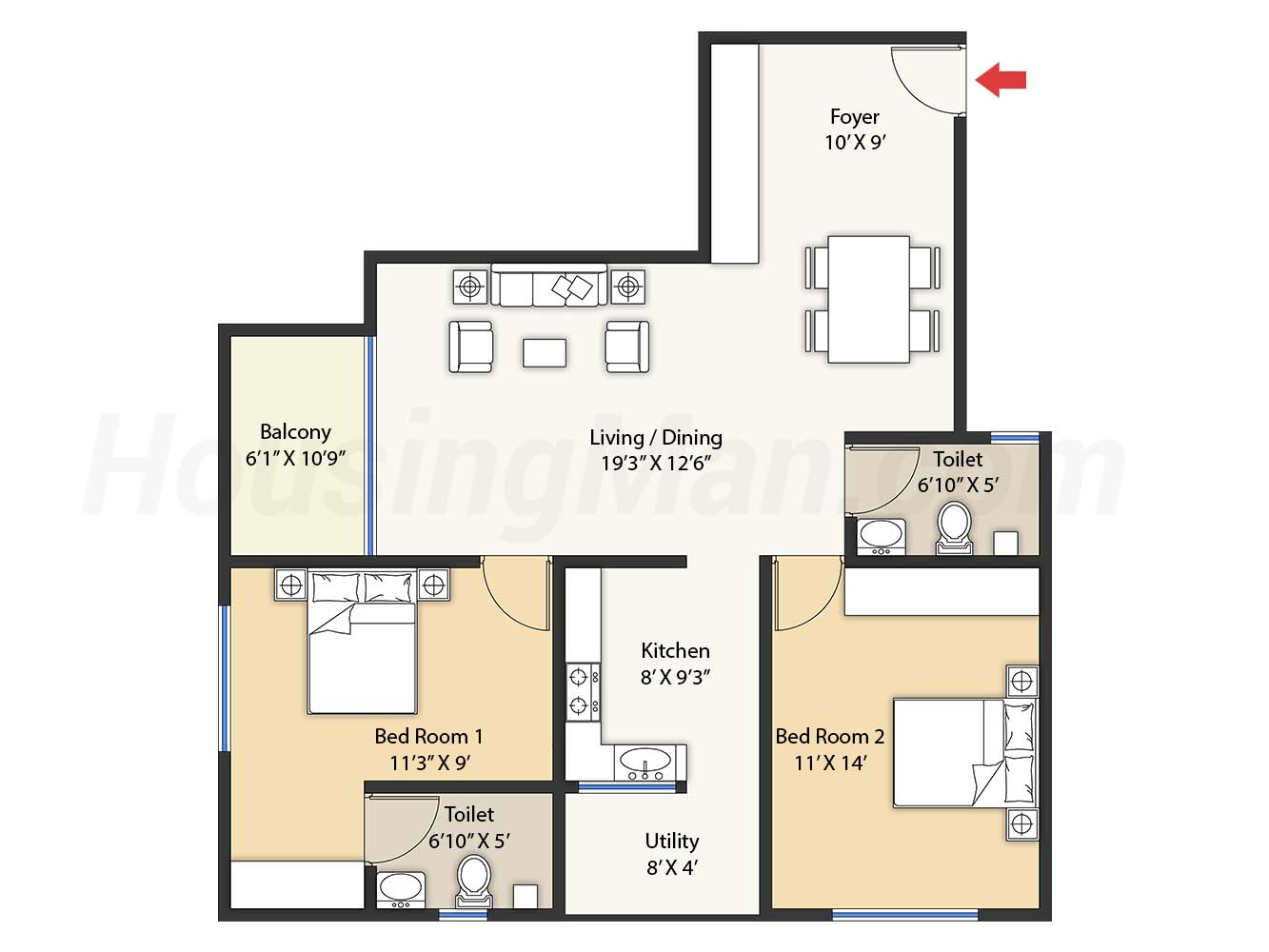 2bhk 2t 1220 t