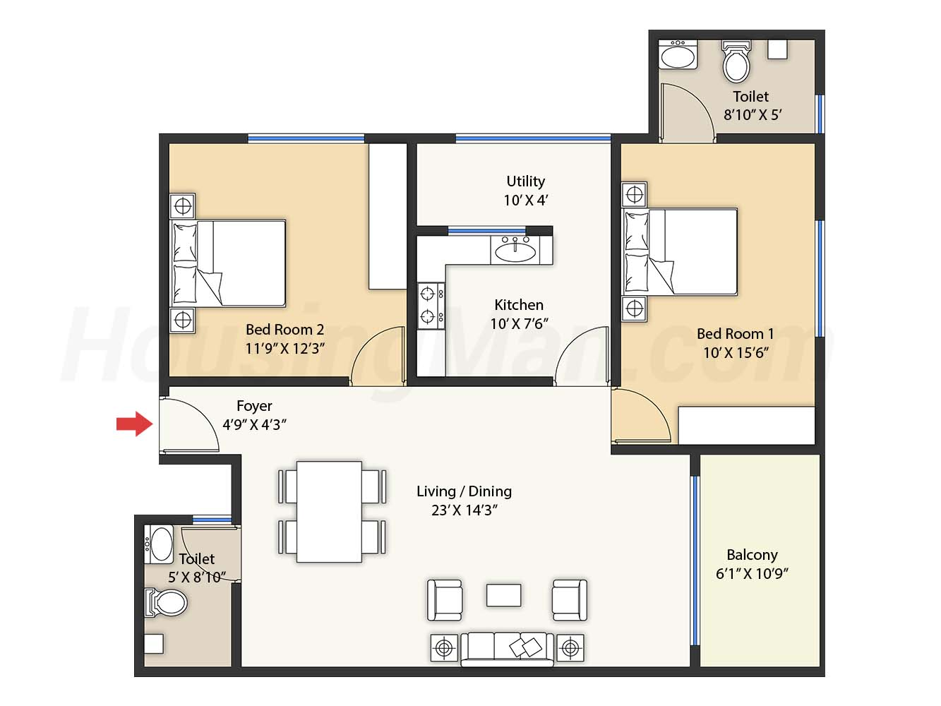 2bhk 2t 1204 t