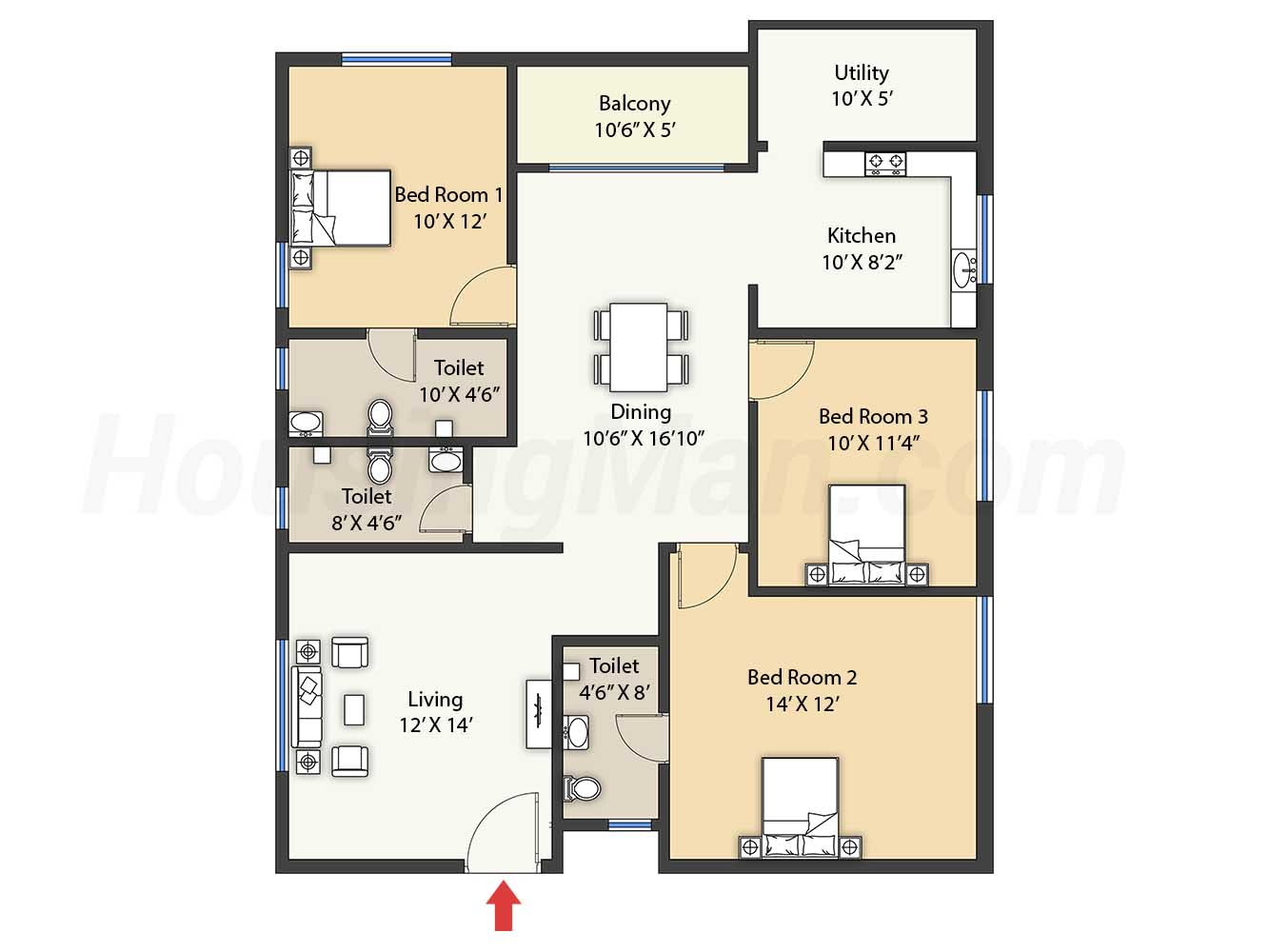3bhk 3t 1478 t
