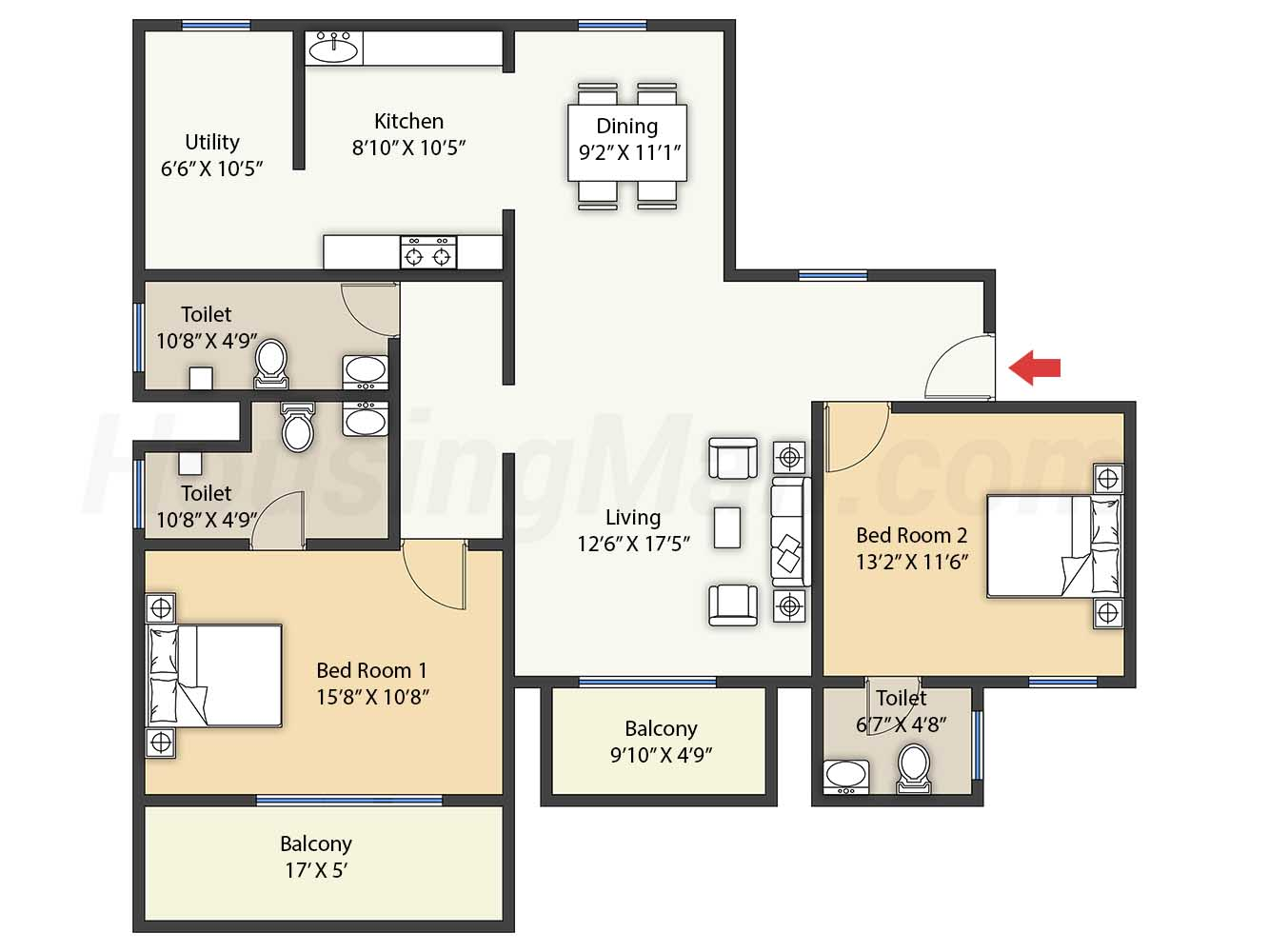 2bhk 2t 1277 t
