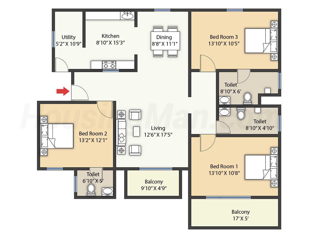 3bhk 3t 1378 t