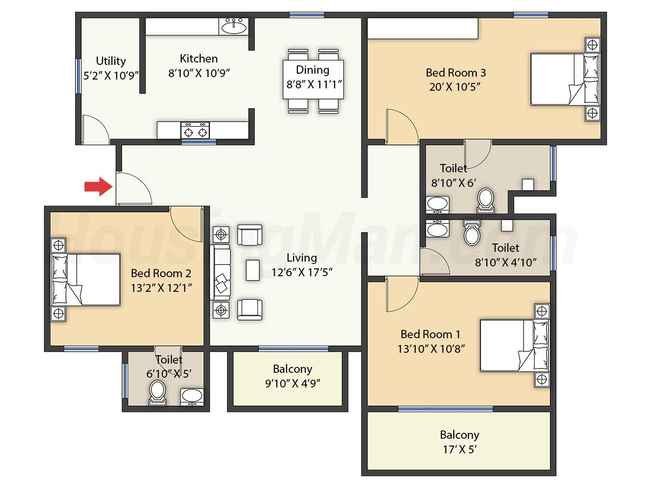 3bhk 3t 1444 t