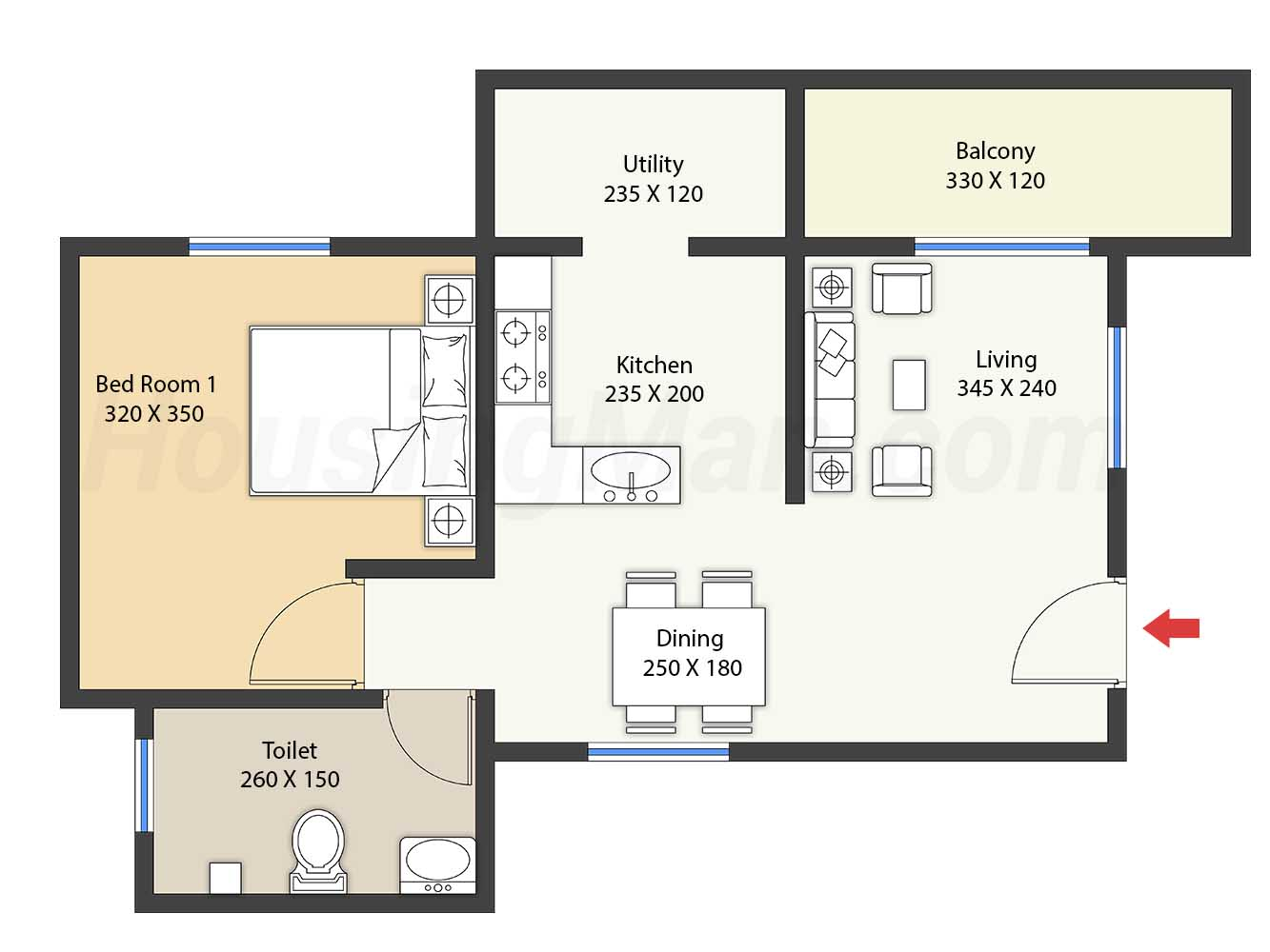 1bhk 1t 690 t