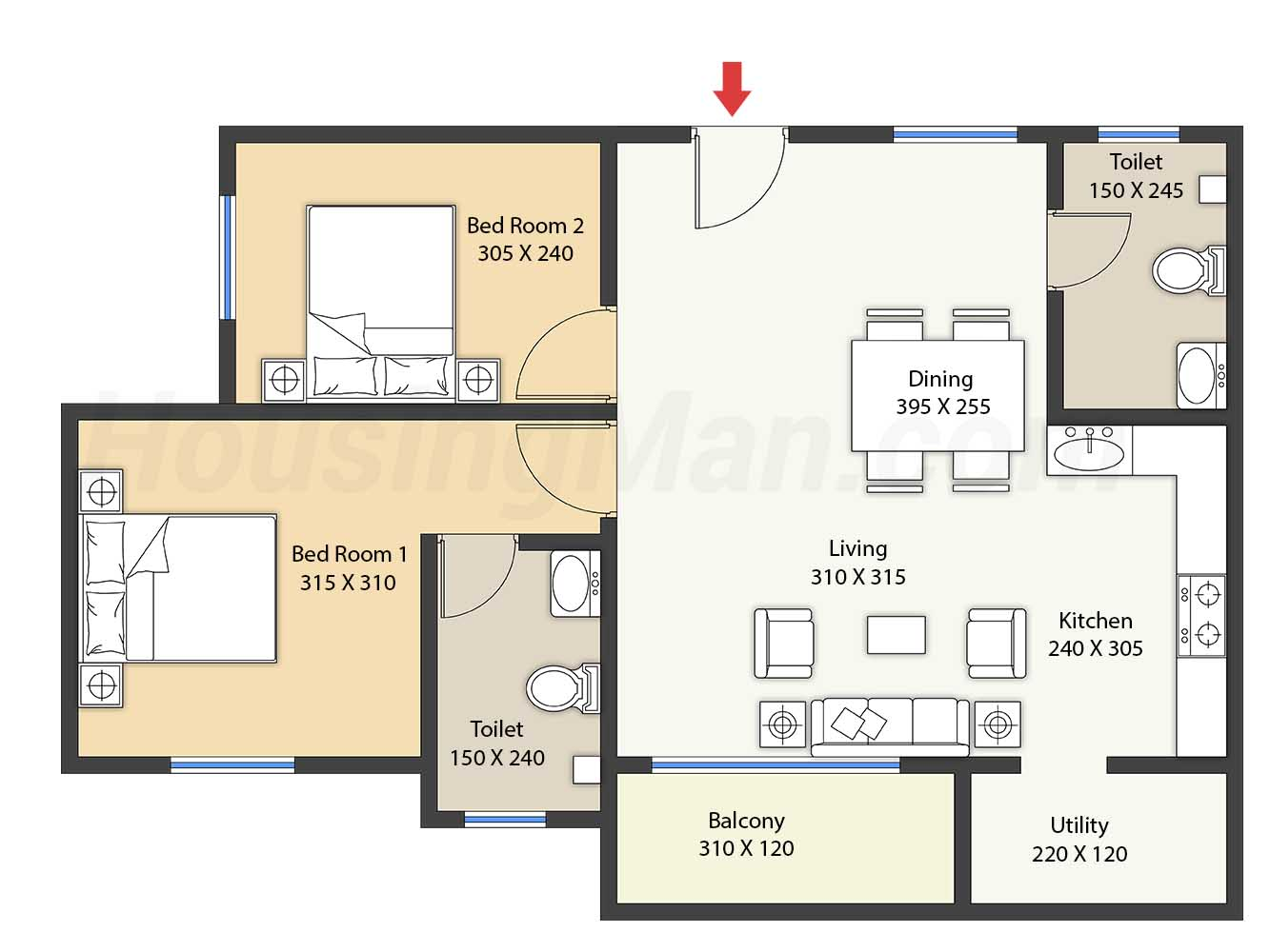 2bhk 2t 930 t