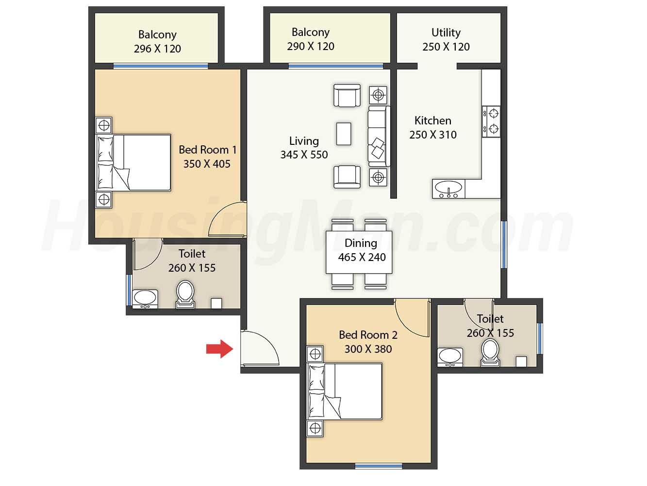 2bhk 2t 1200 t