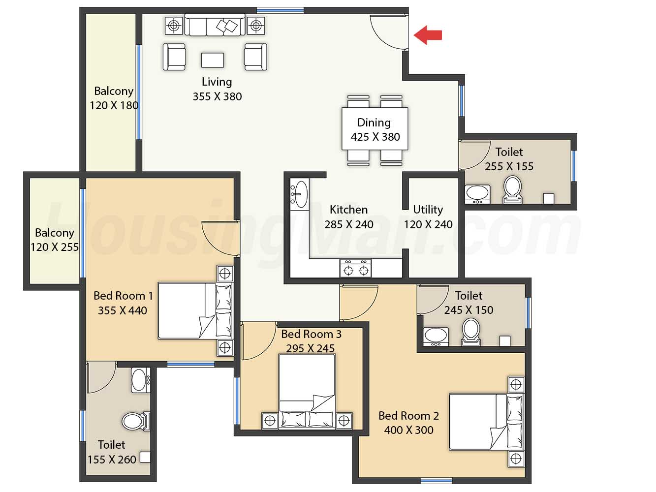 3bhk 3t 1550 t