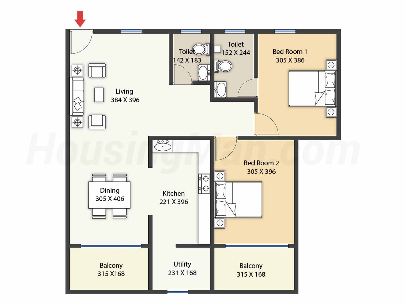 2bhk 2t 1083 t