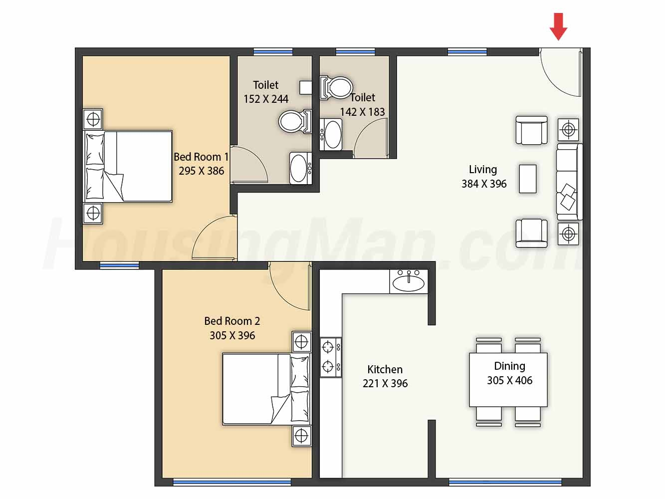 2bhk 2t 1114 t