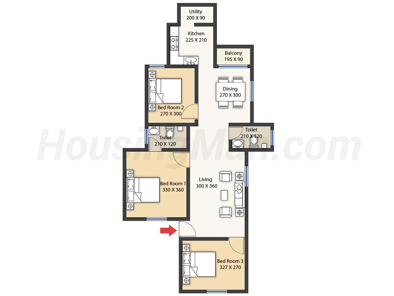 3bhk 3t 1345 t