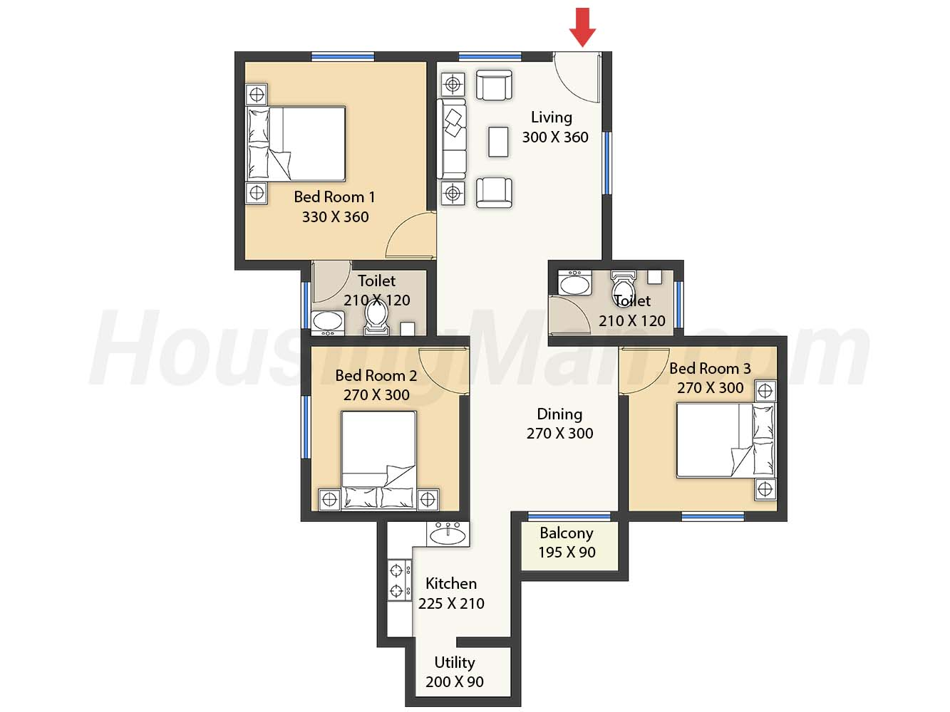 3bhk 3t 1030 t