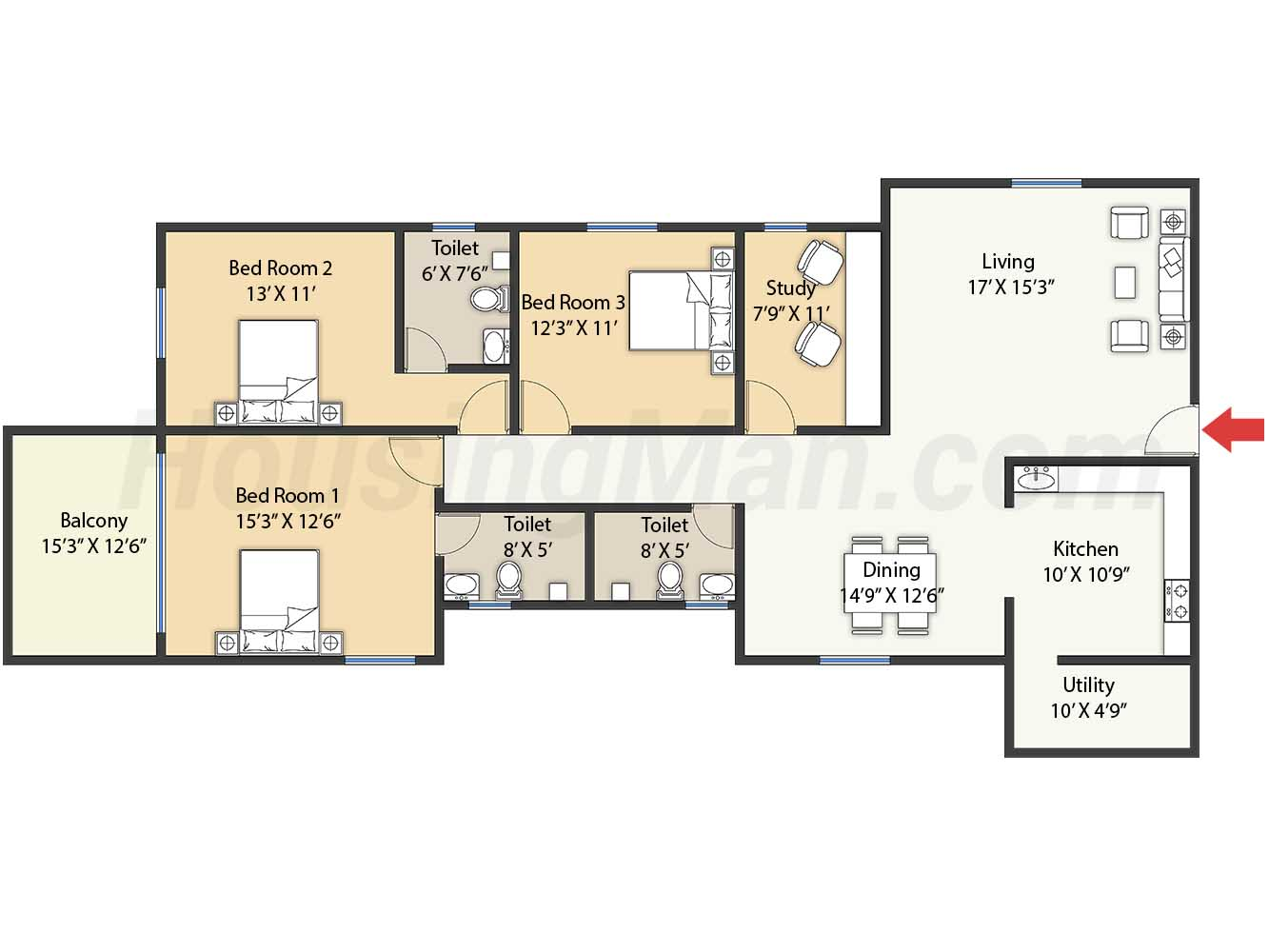 3bhk 3t 2110 t