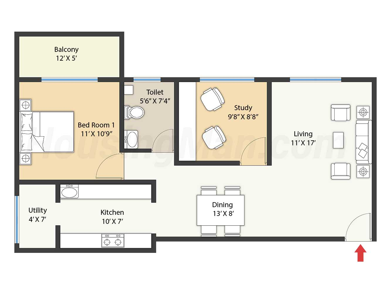 1bhk 1t 874 t