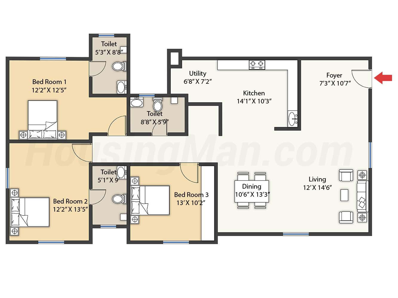 3bhk 3t 1888 t