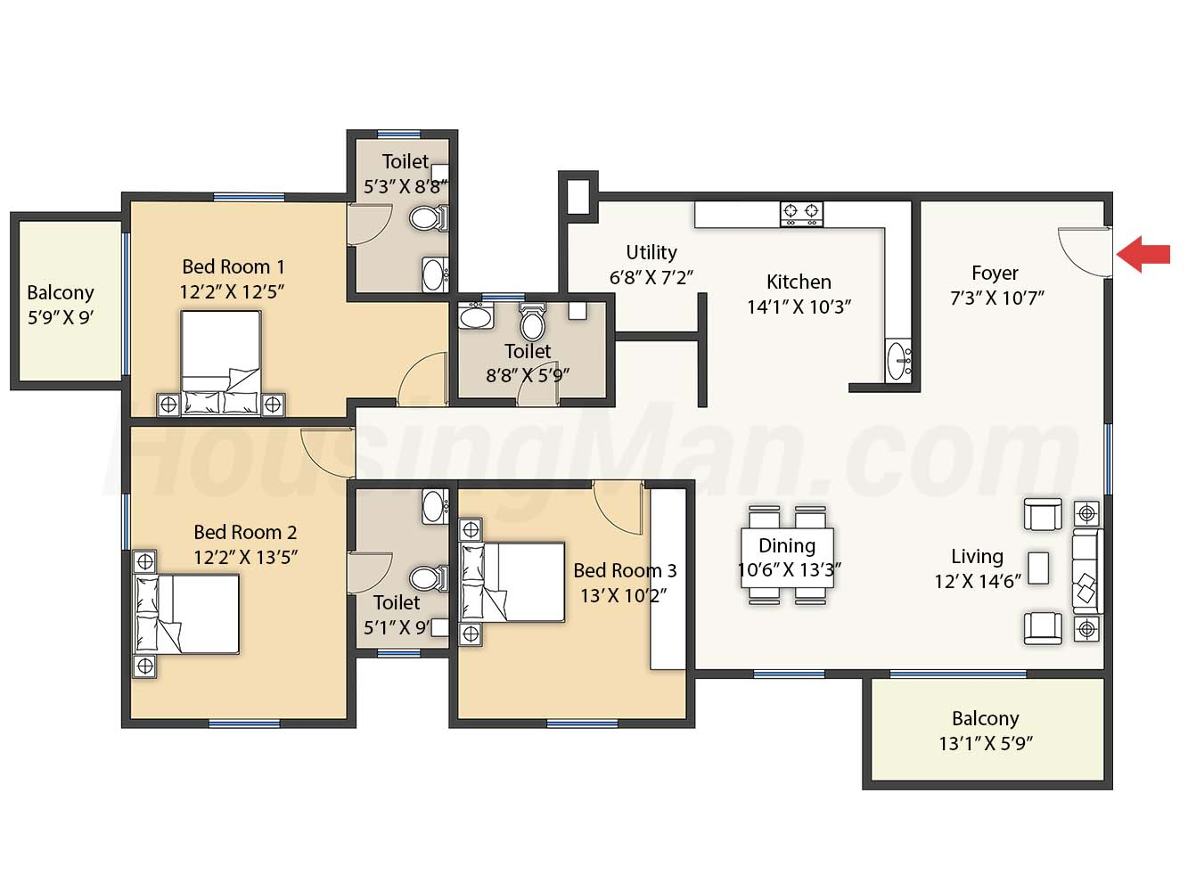 3bhk 3t 2052 t