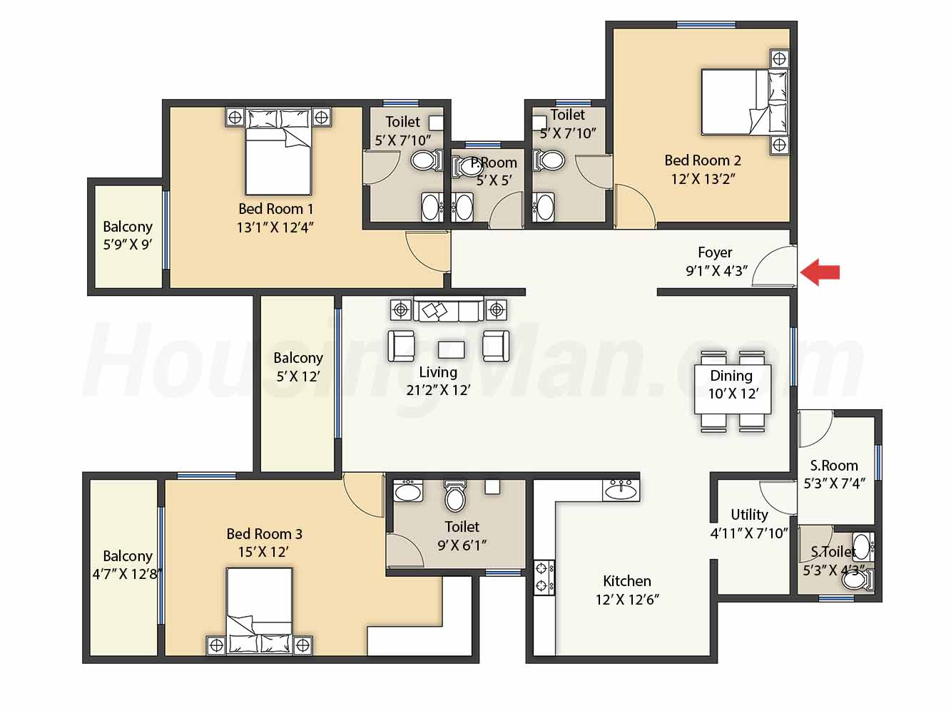 3bhk 3t 2176 t