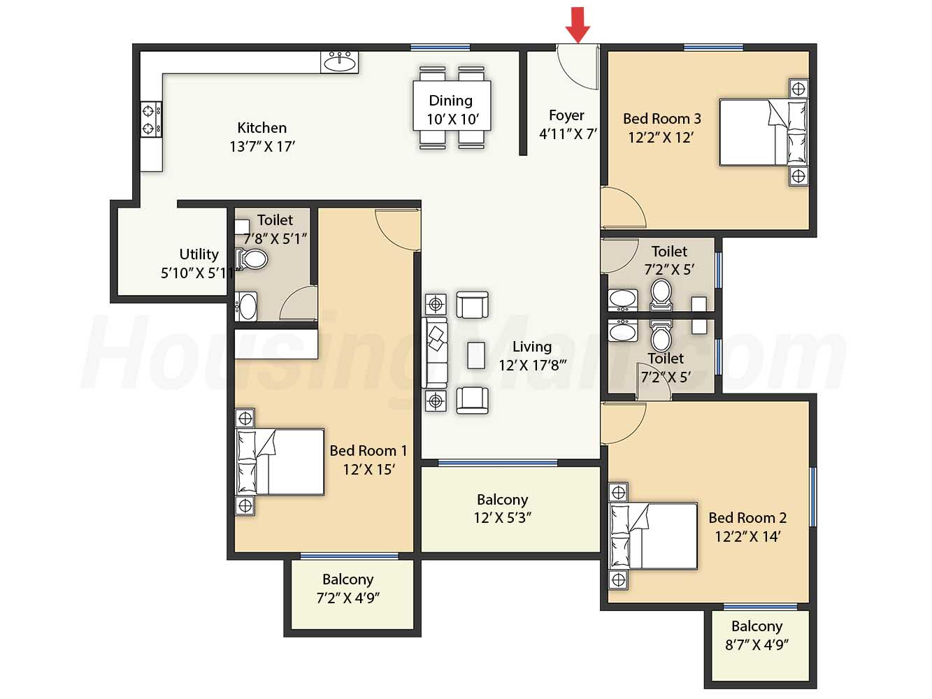 3bhk 3t 1790 t