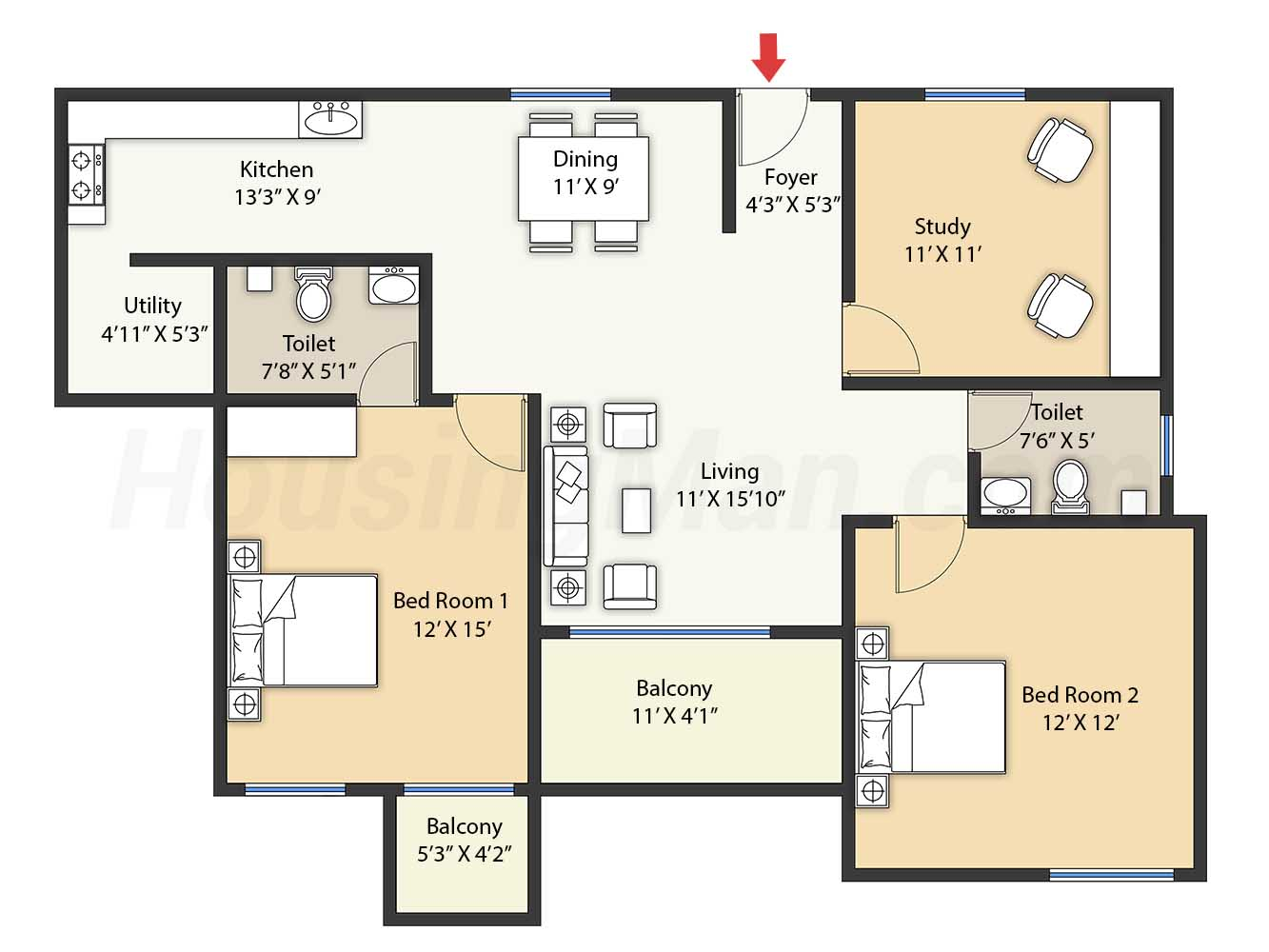 2bhk 2t 1485 t