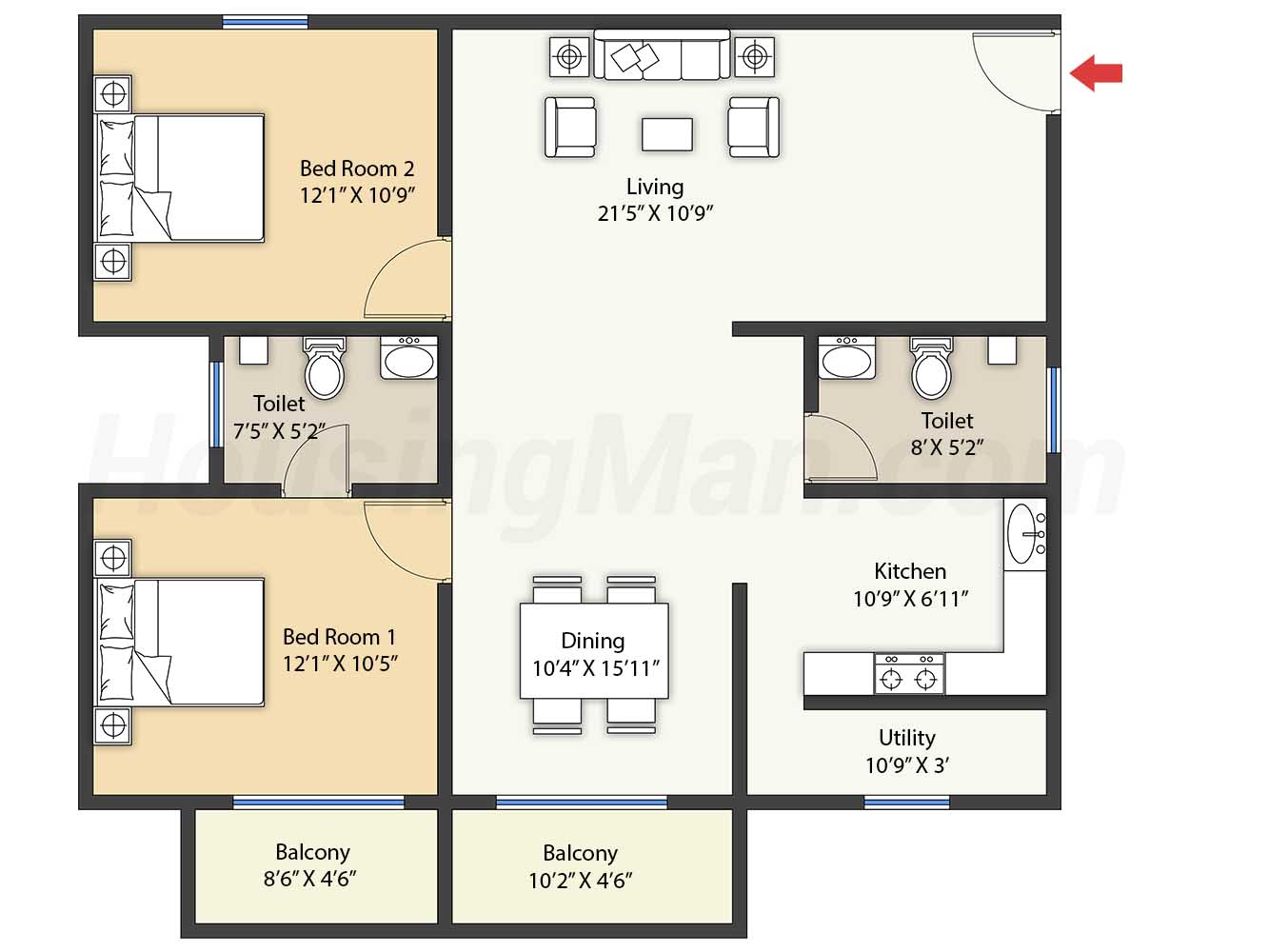 2bhk 2t 1263 t