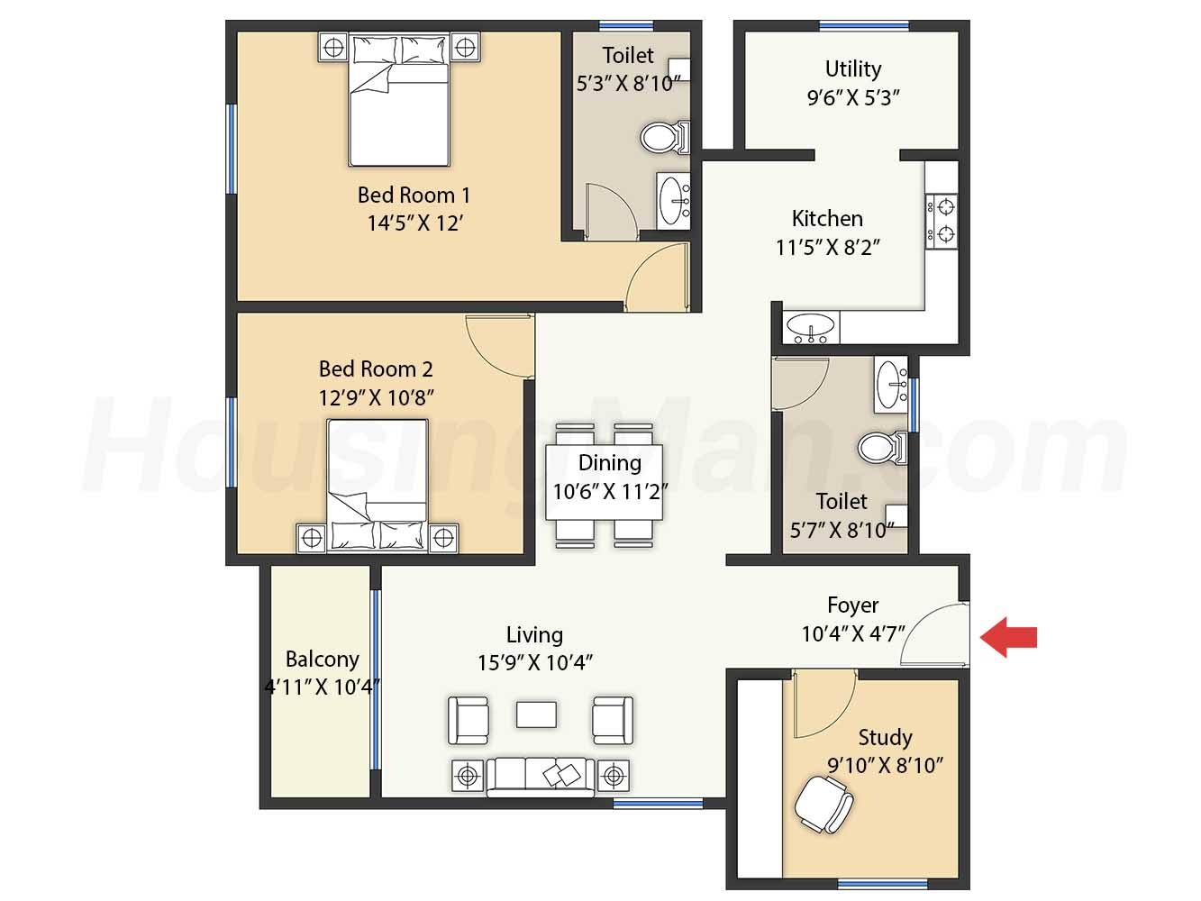 2.5bhk 2t 1405 t