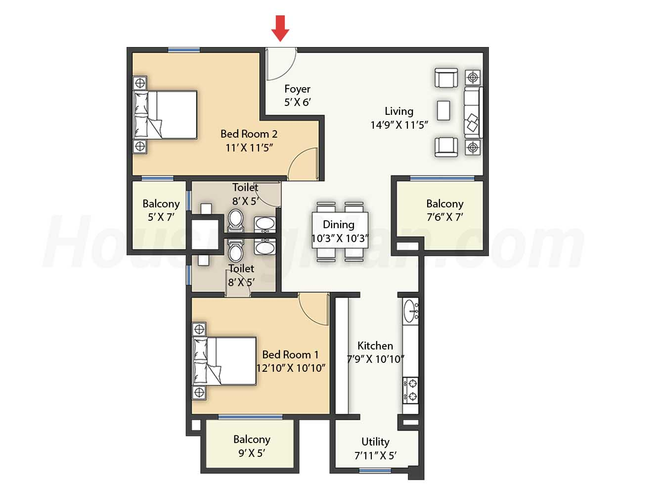 2bhk 2t 1393 t