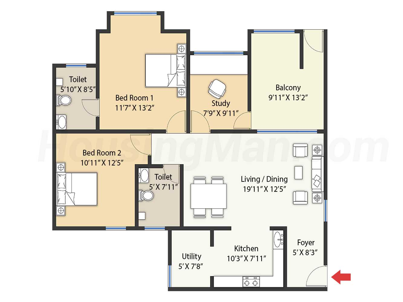 2.5bhk 2t 1412 t