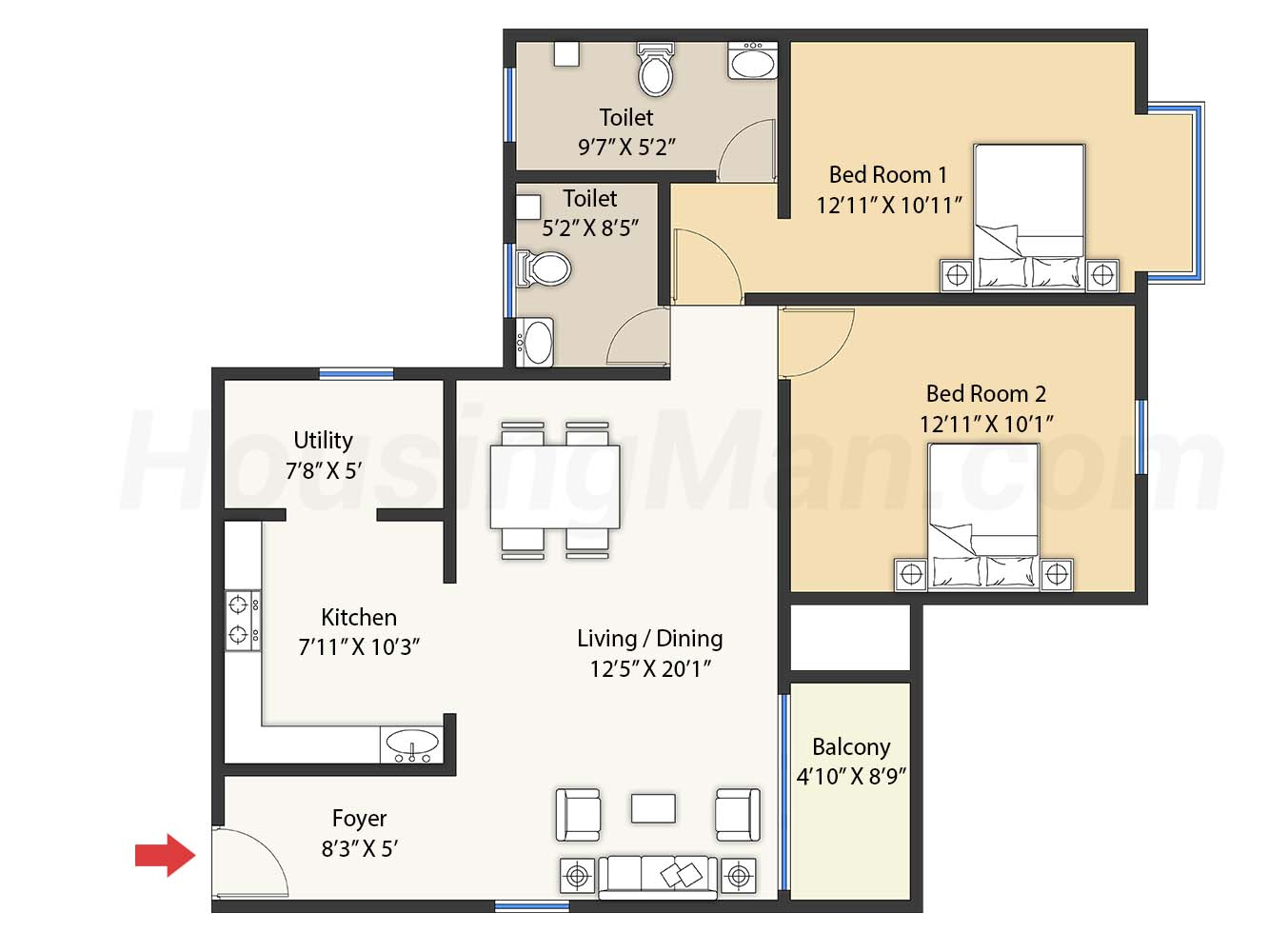 2bhk 2t 1274 t