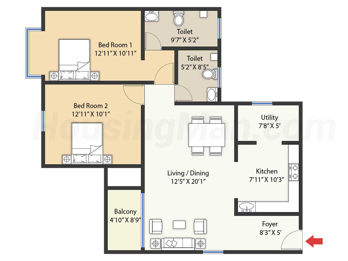 2bhk 2t 1276 t