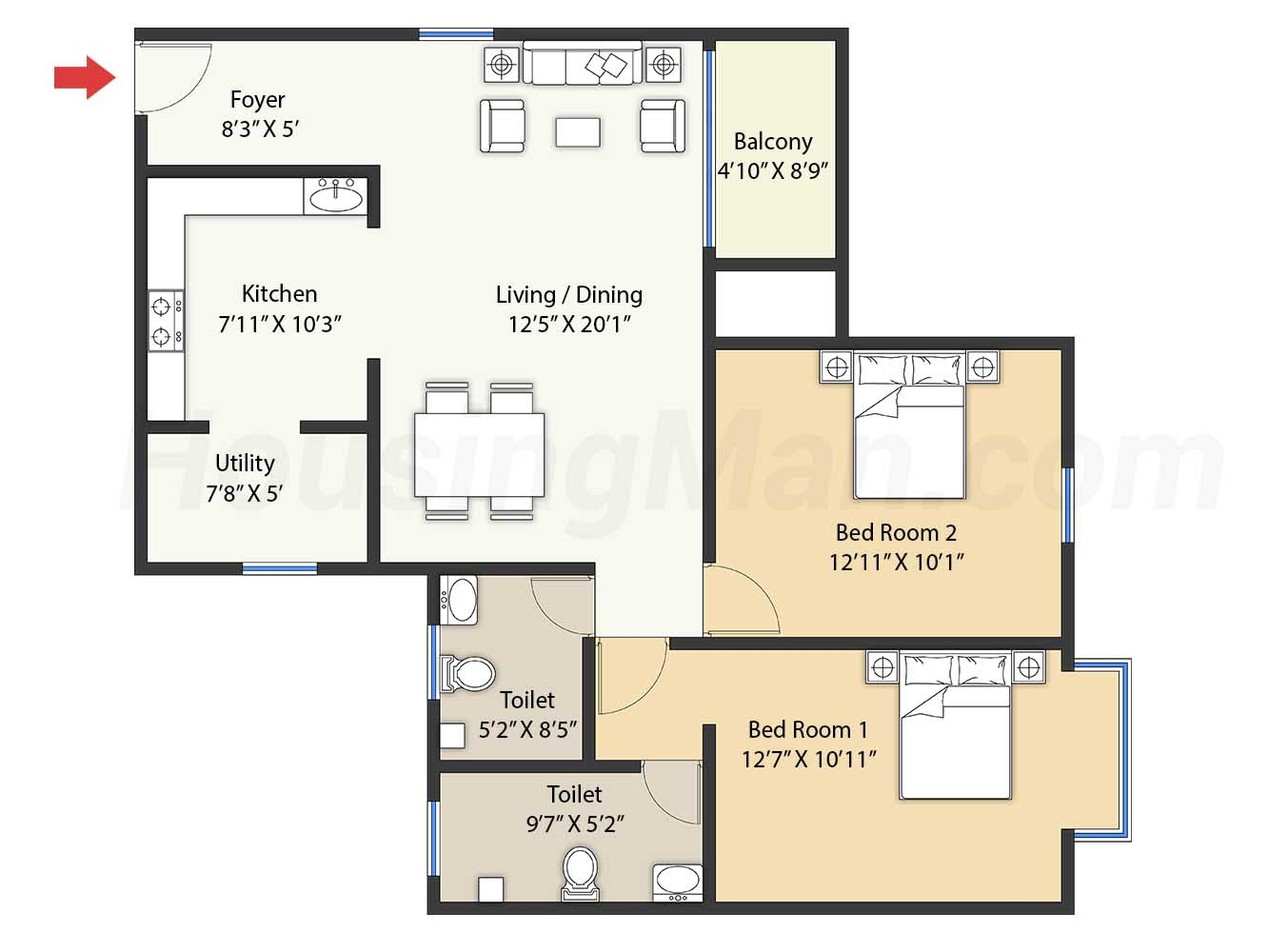 2bhk 2t 1288 t