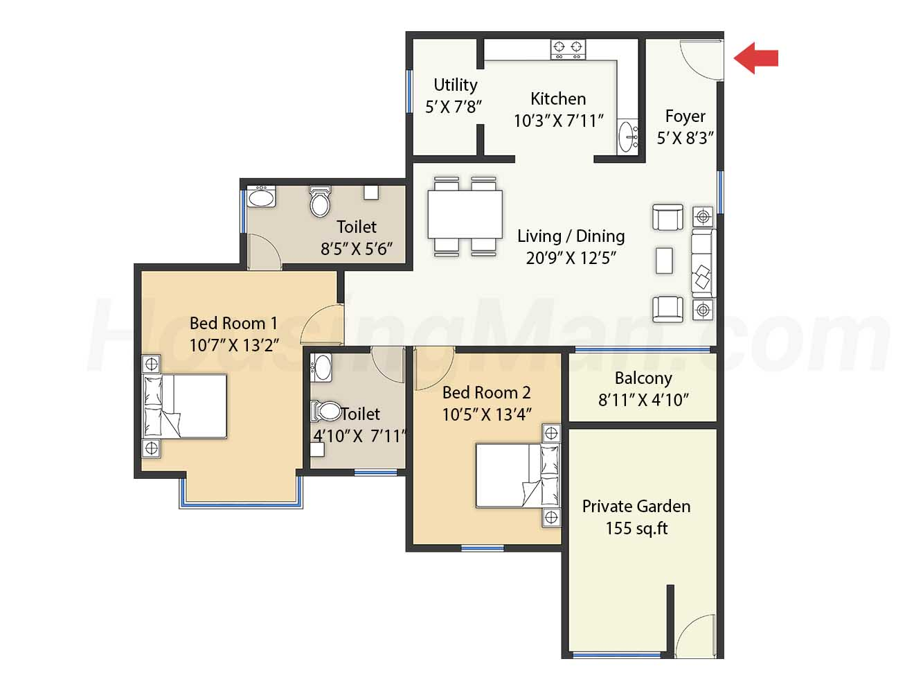 2bhk 2t 1290 t
