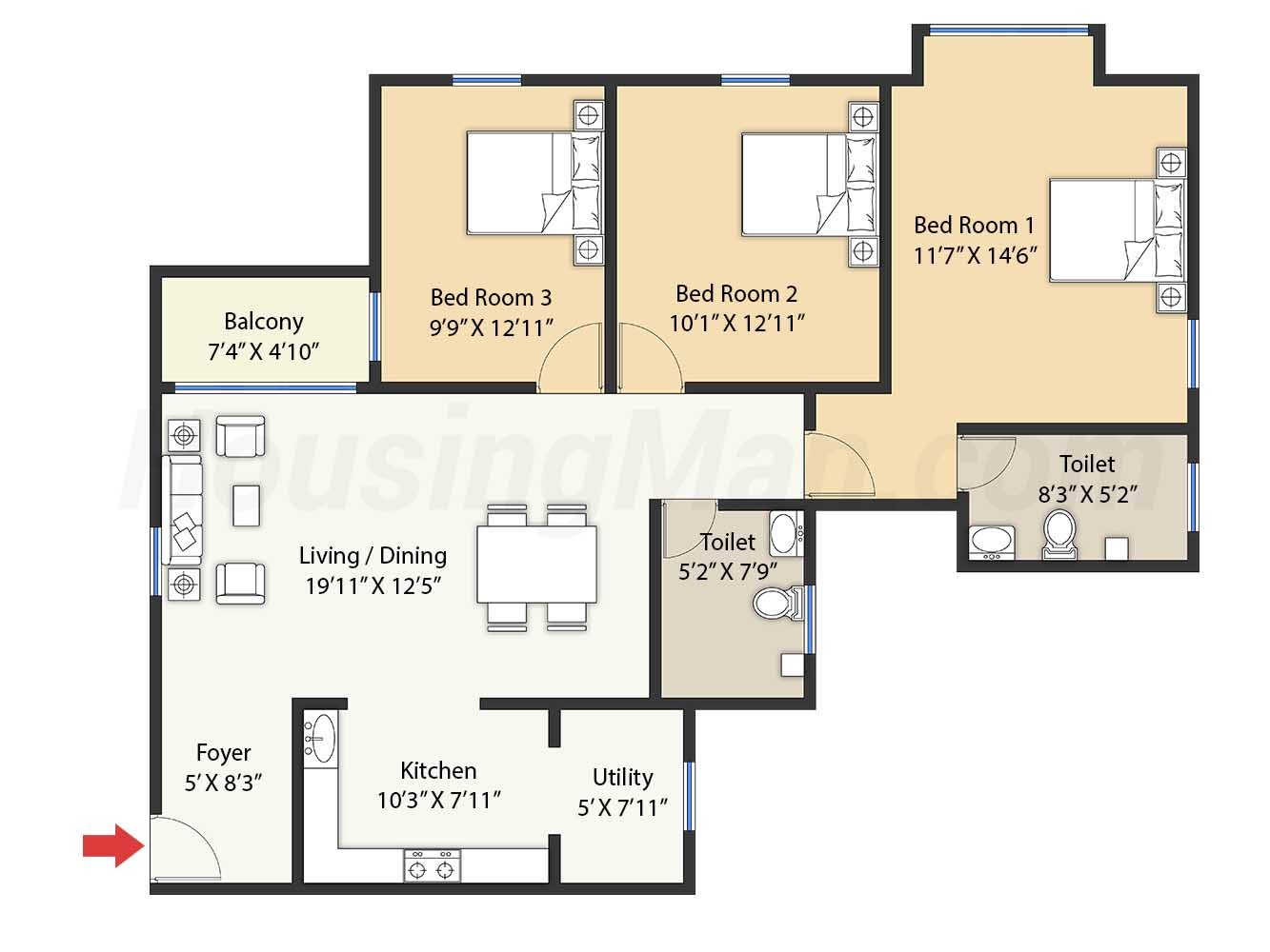 3bhk 3t 1494 t