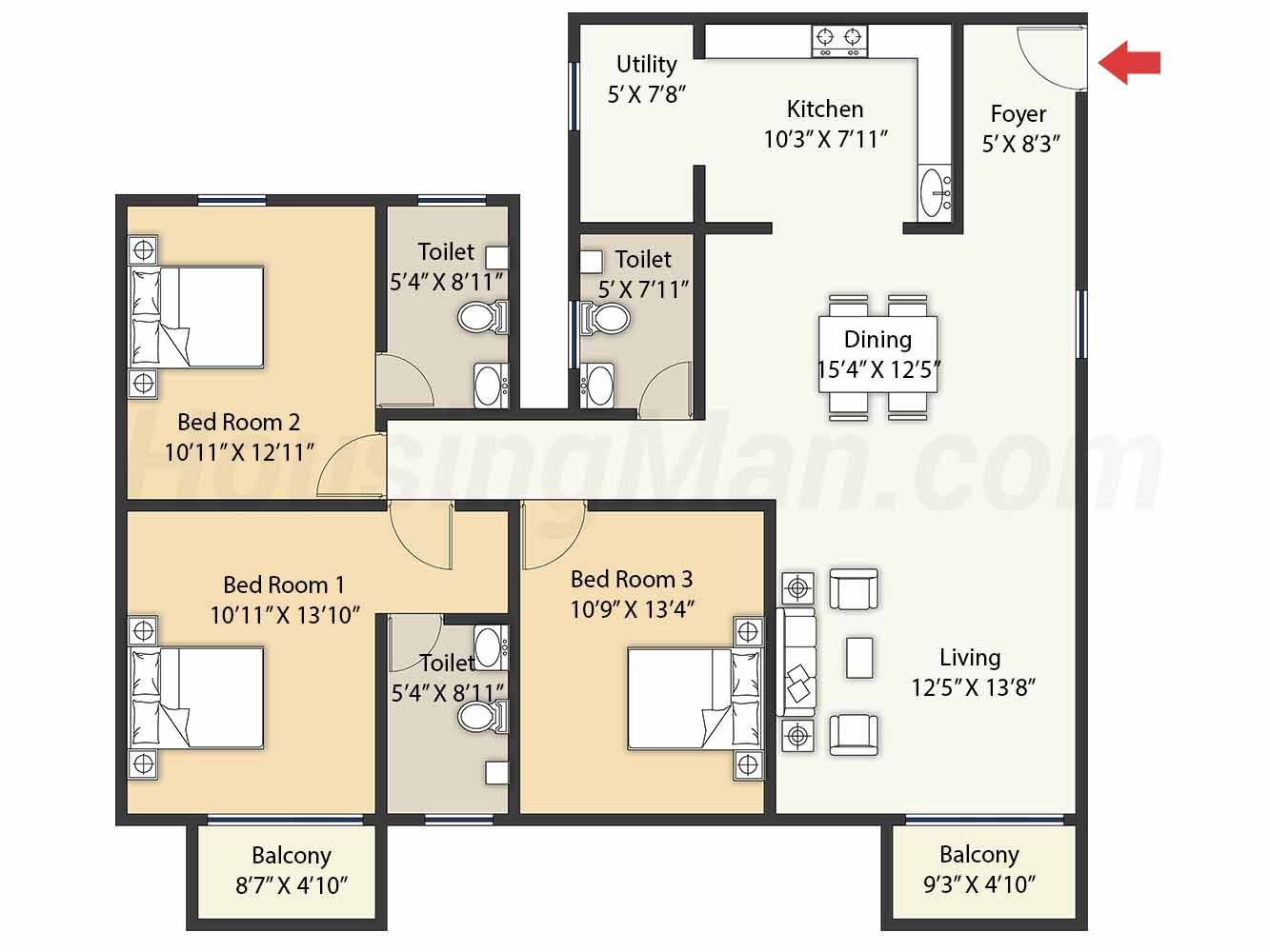 3bhk 3t 1842 t