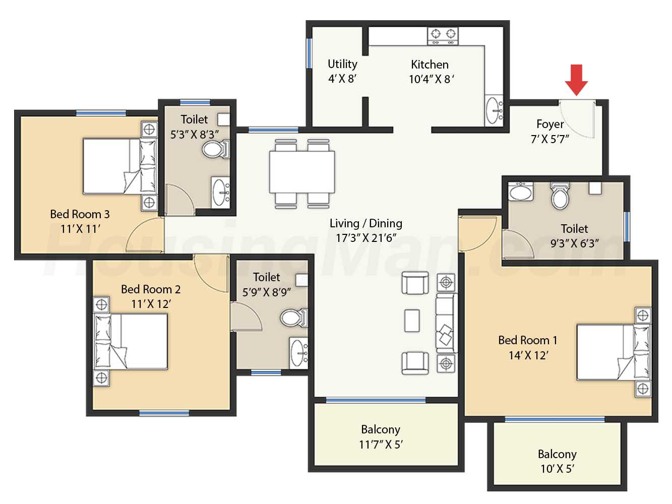 3bhk 3t 1594 t