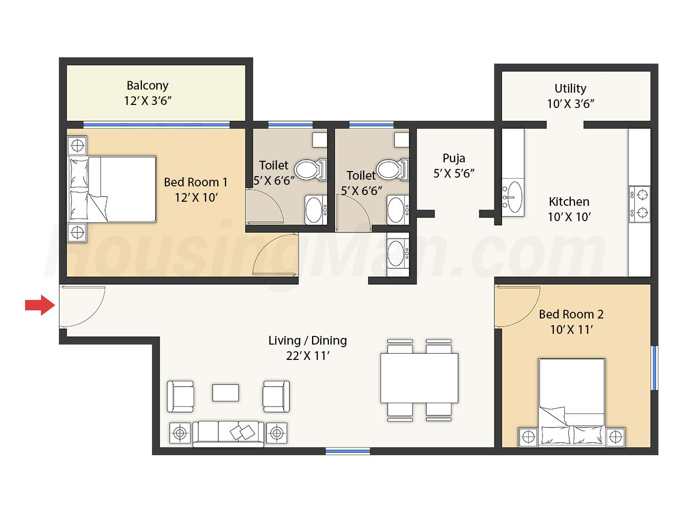 2bhk 2t 1128 t