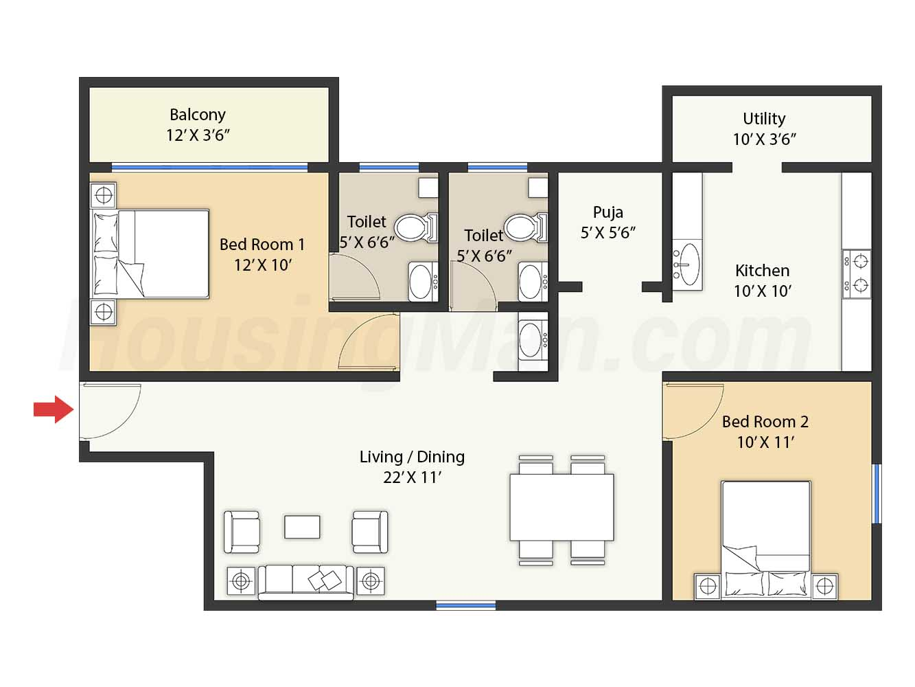 2bhk 2t 1129 t